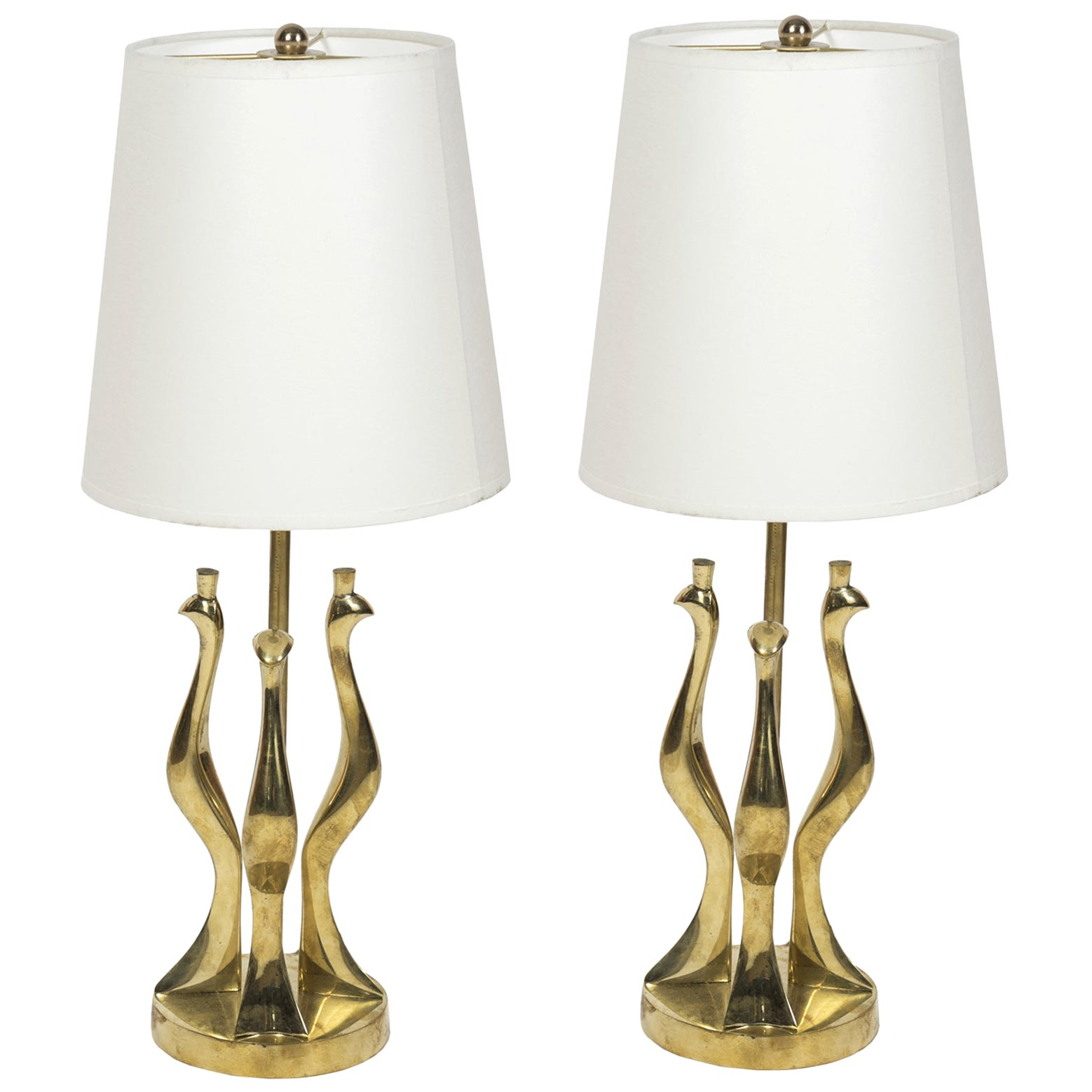 Pair of Bronze Lamps by Riccardo Scarpa