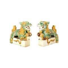 A Pair Of Rare And Fine Ceramic San-sai Glazed Dragons