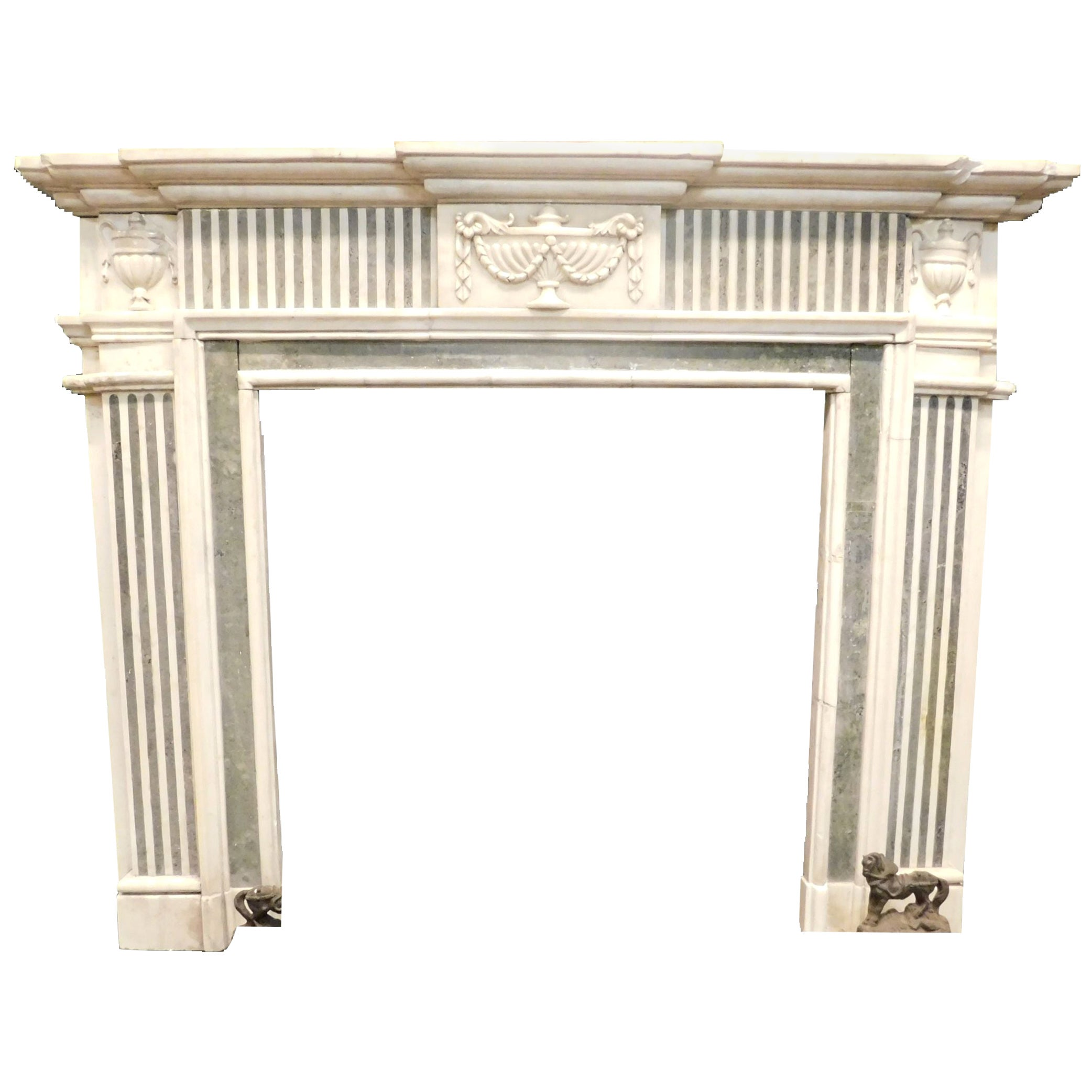 Antique White Carrara Marble Fireplace Inlaid Verde Alpi, 19th Century, Italy
