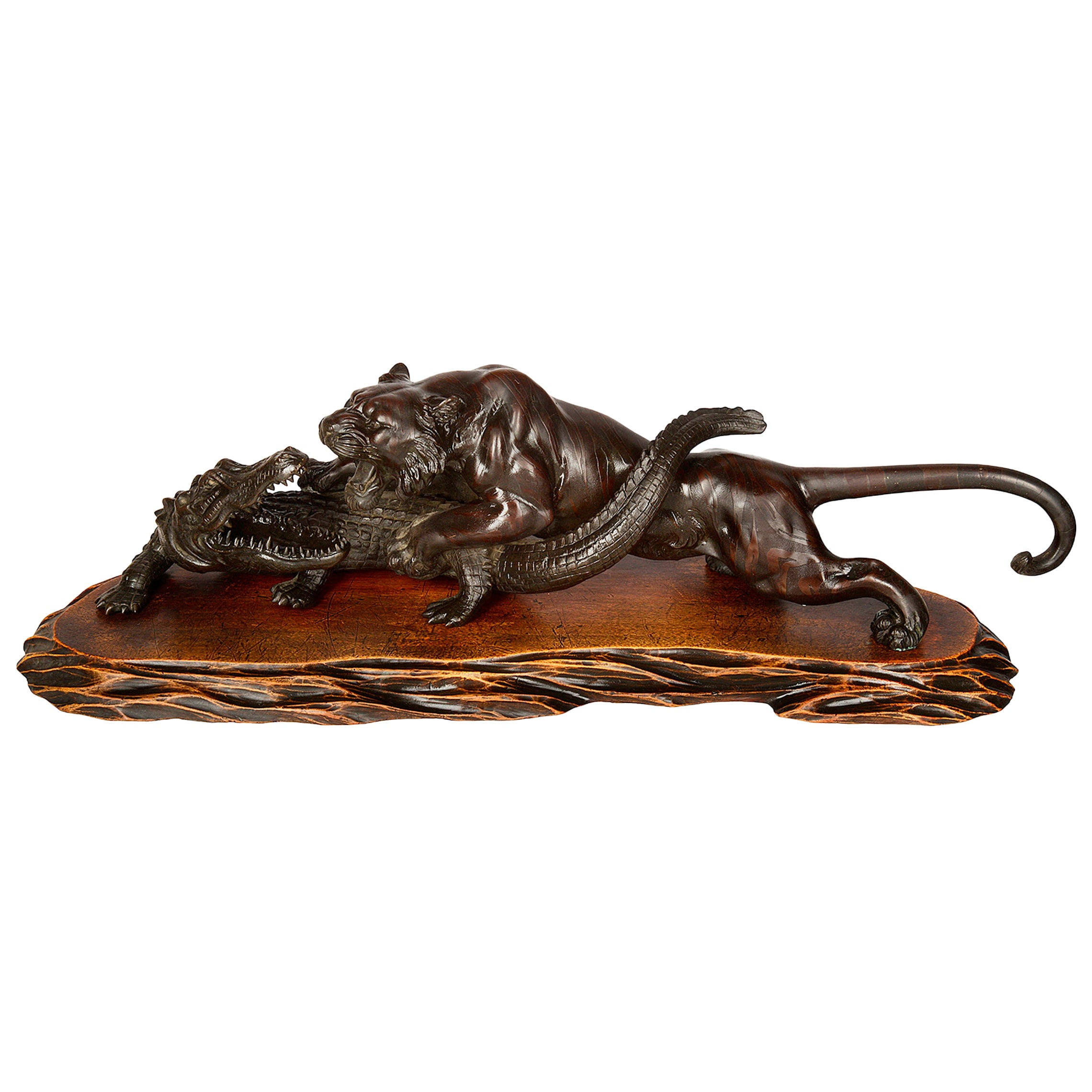 Japanese Meiji Period Bronze Tiger Attacking an Crocodile, 19th Century