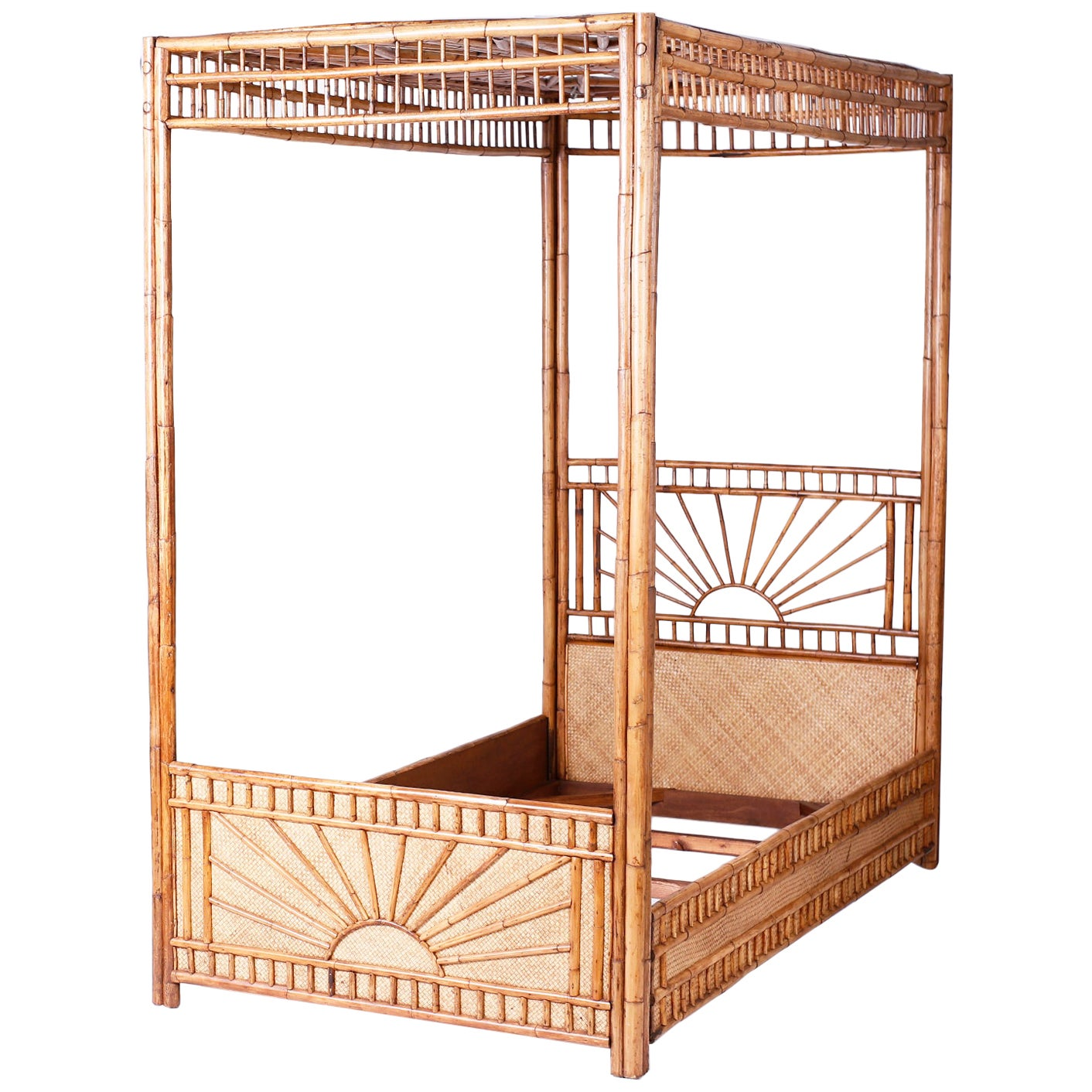 Midcentury Bamboo and Grasscloth Twin Canopy Bed Frame