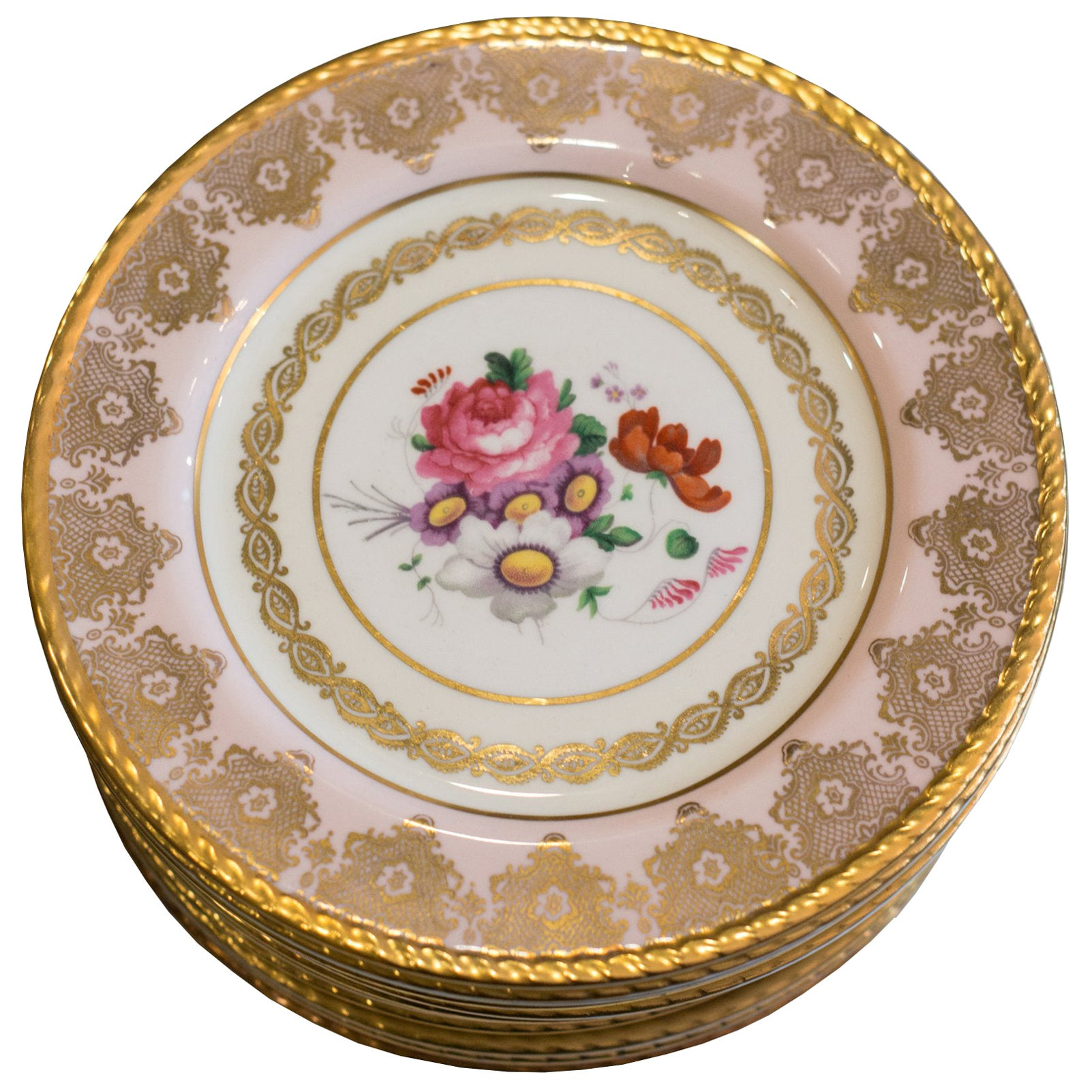 Antique Set of 15 Paragon Pink & Gold Dessert Plates