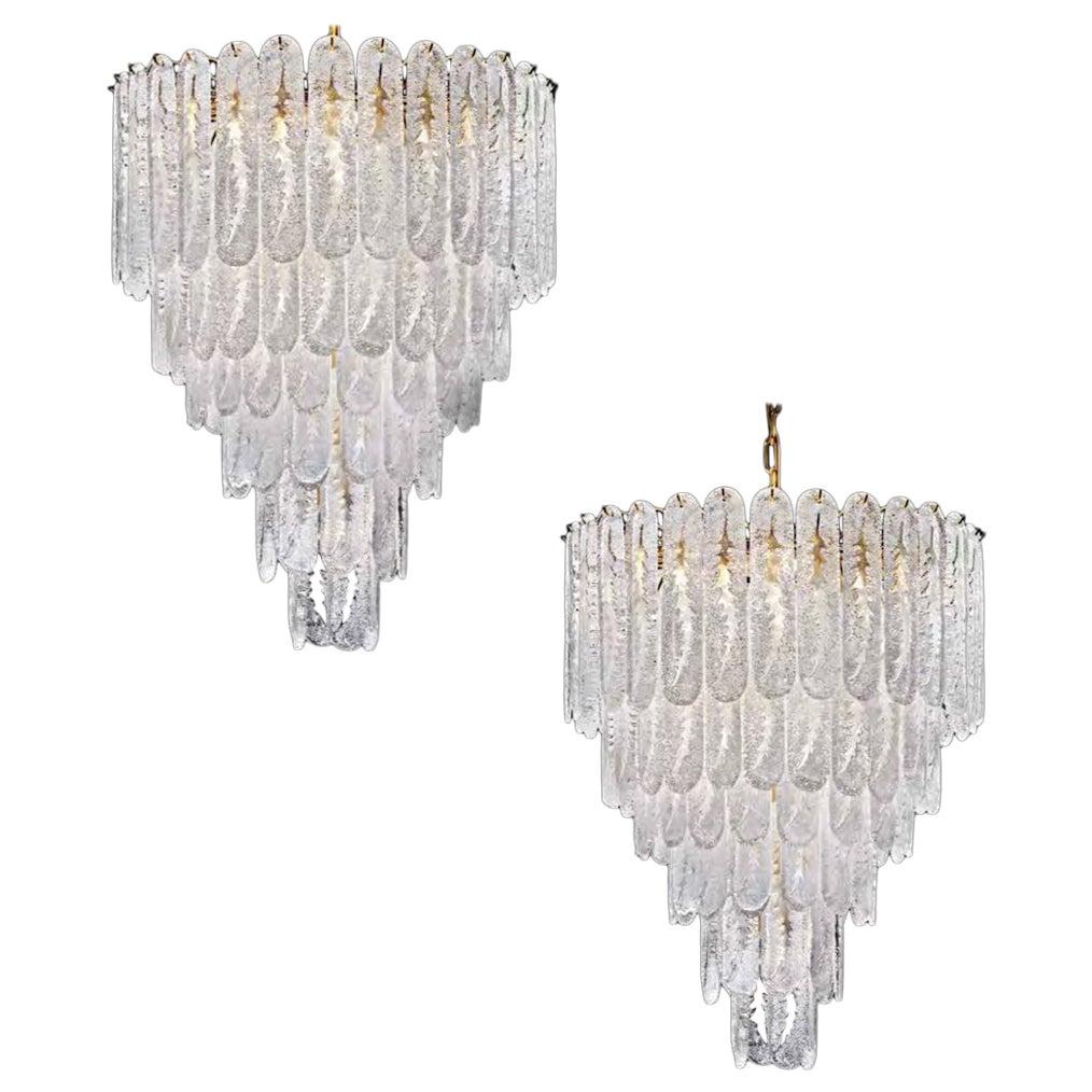 Pair of Huge Italian Murano Glass Chandelier