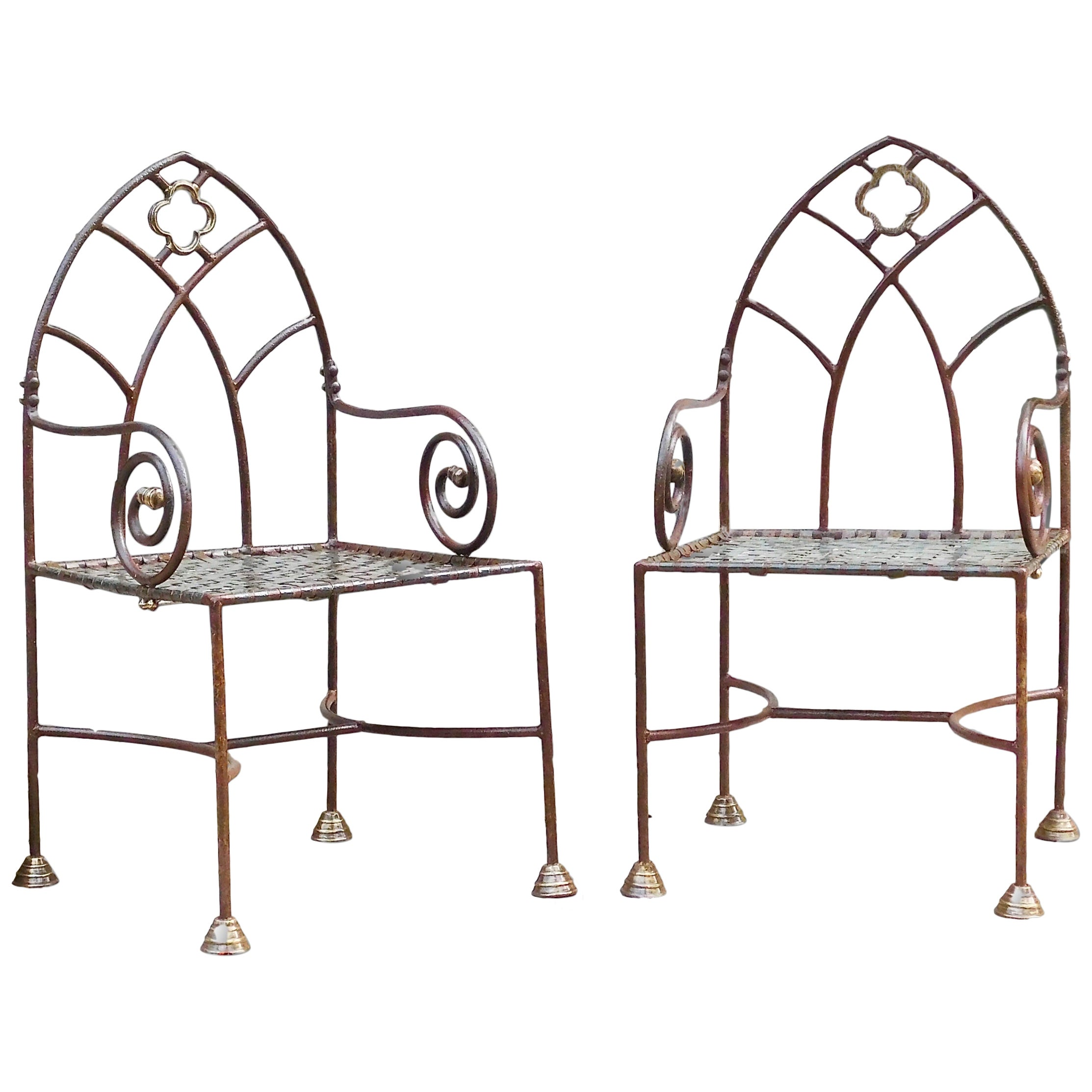 Set of Six English Gothic Revival Wrought Iron Dining or Garden Armchairs