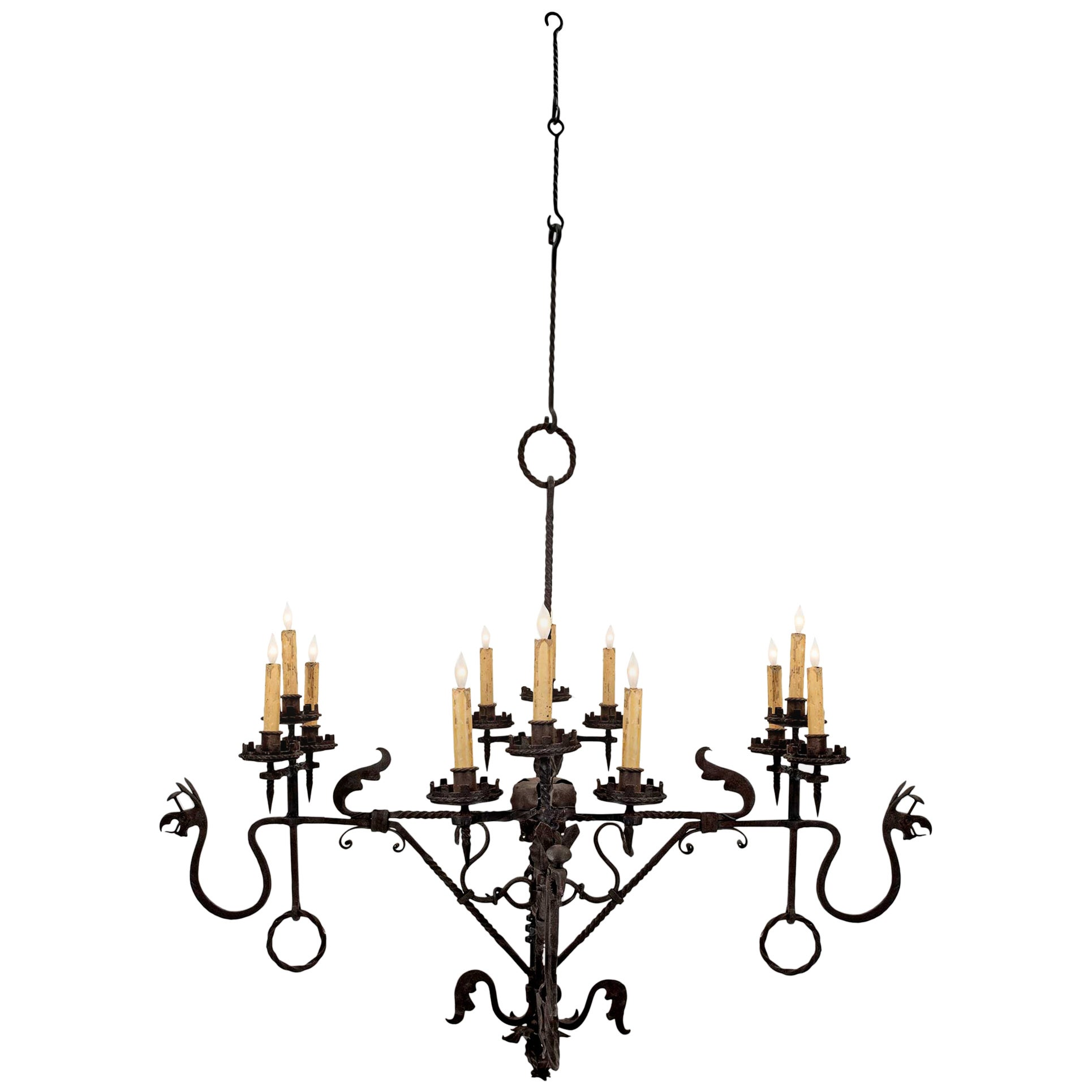 French Mid-19th Century Wrought Iron Twelve-Light Chandelier