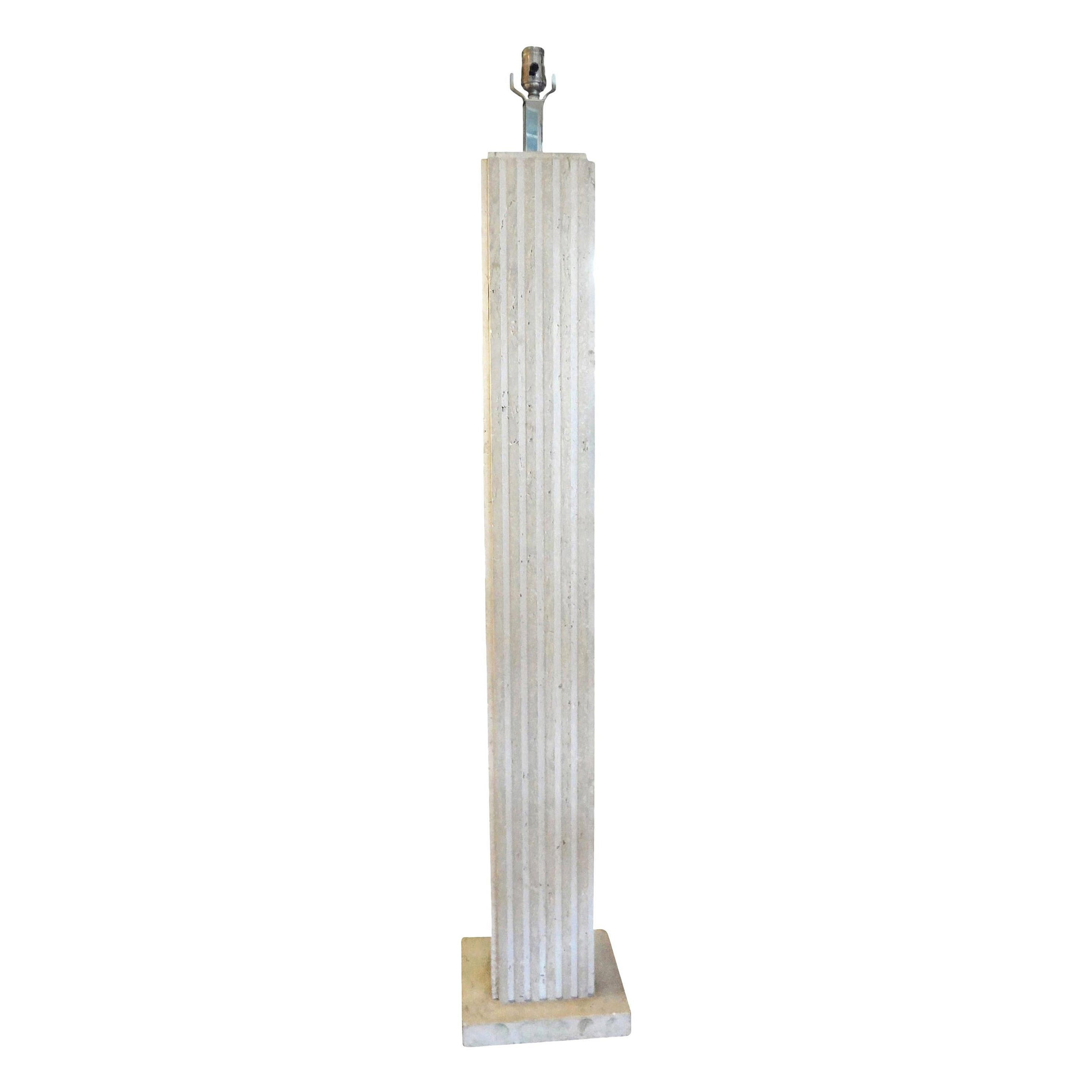 Italian Travertine Floor Lamp by Reggiani