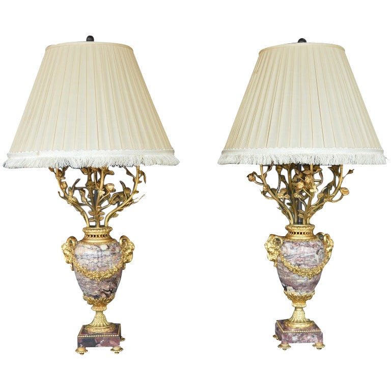 Pair of 19th Century French Ormolu-Mounted Marble Candelabra