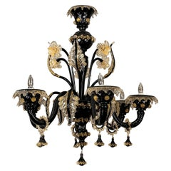 Vintage Black Blown Glass Murano Chandelier