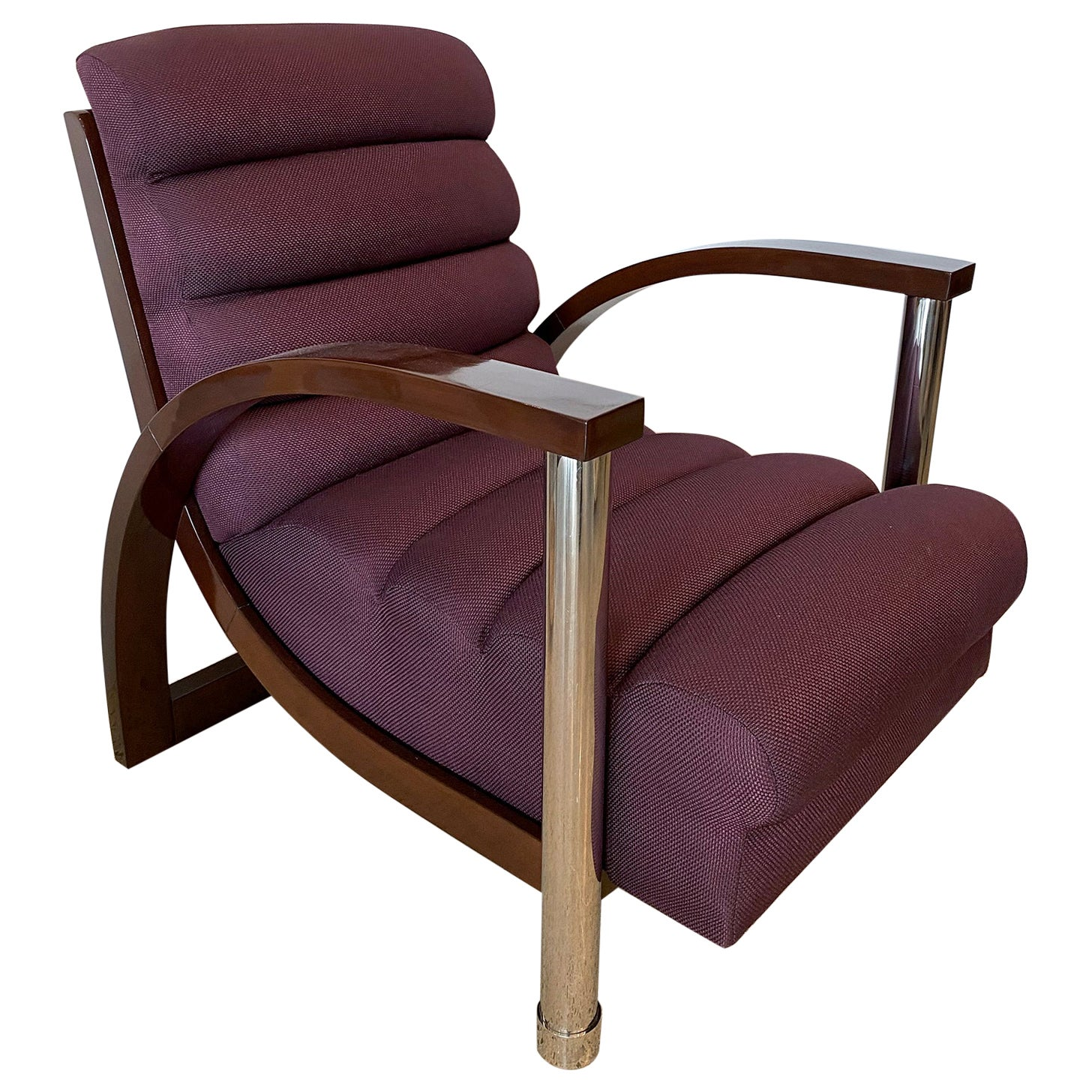 American Modern Dark Oak and Chrome Eclipse Chair Jay Spectre Channeled Upholste