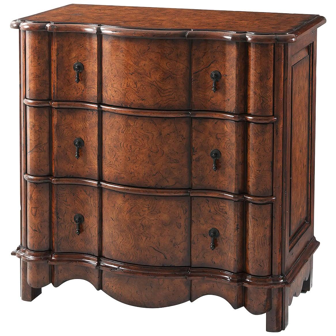 French Provincial Burl Bedside Dresser