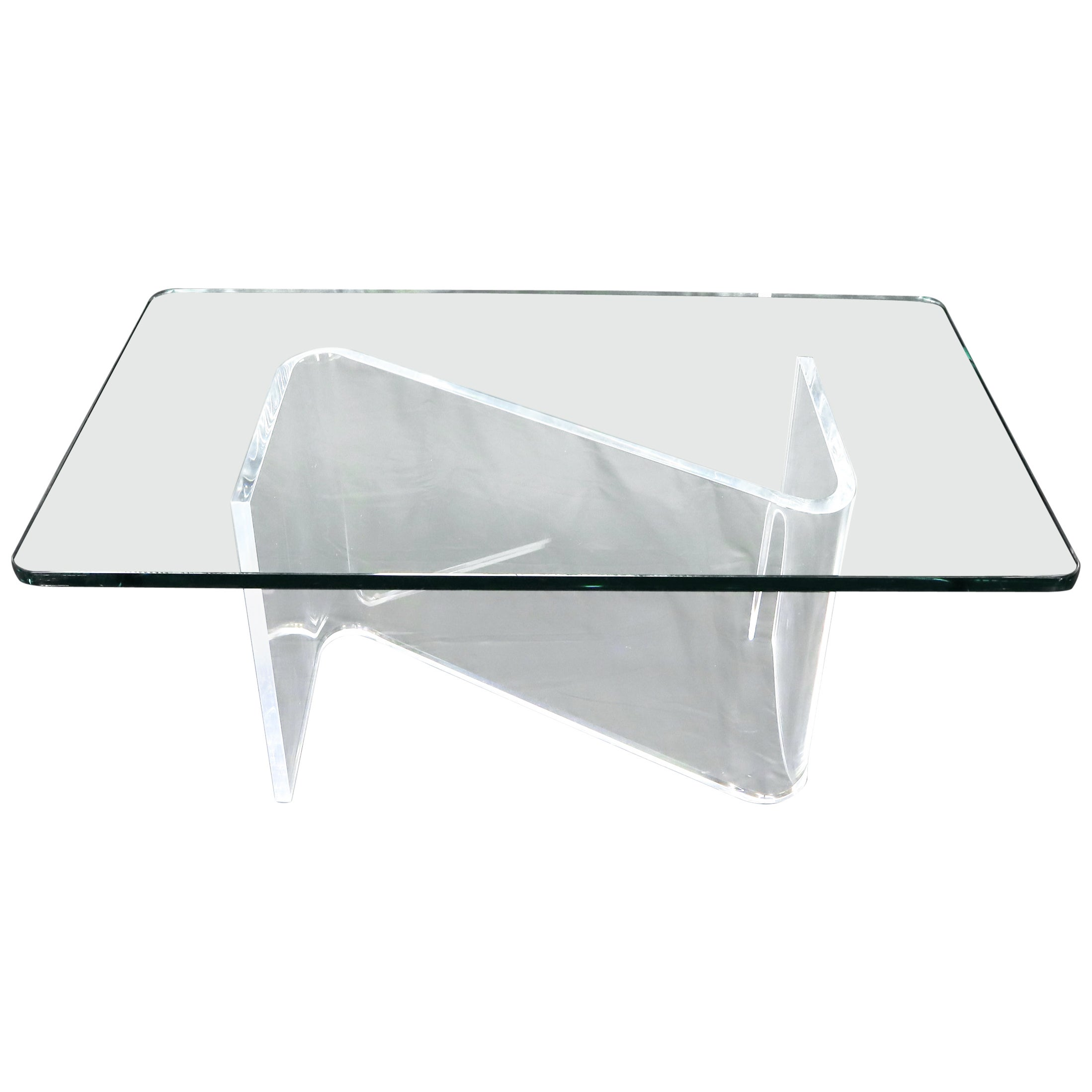 Bent Lucite Z-Shape Base Thick Glass Top Coffee Table