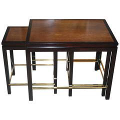 Edward Wormley Set of Three Walnut Nesting or Side Tables