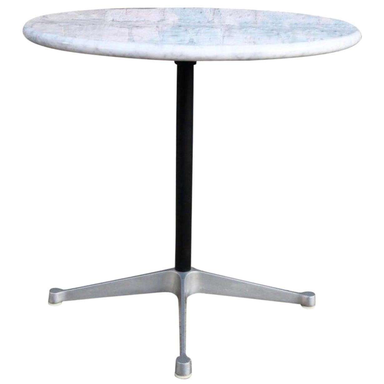 Herman Miller Eames Aluminum Dining Table Base with Custom Carrara Marble Top