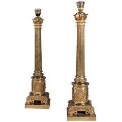 Monumental Pair of Very High Quality Gilt Bronze Column Lamps
