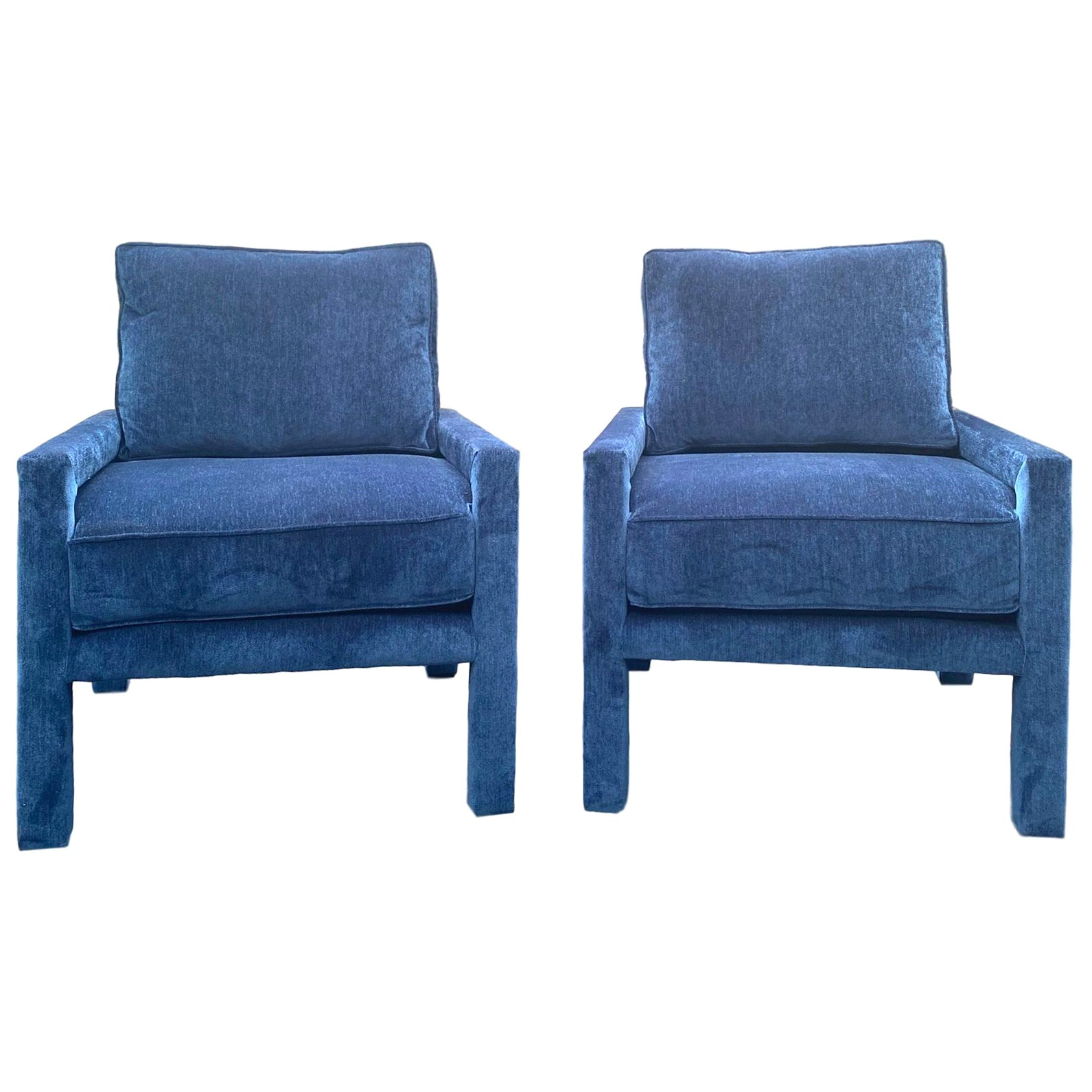 Pair of New Milo Baughman Style Iconic Parsons Chairs, Pantone Blue Velvet