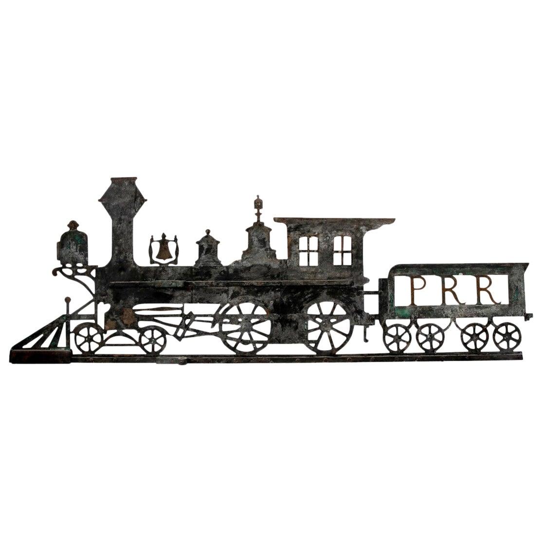 Antique Pennsylvania Folk Art Painted Iron Railroad Sign
