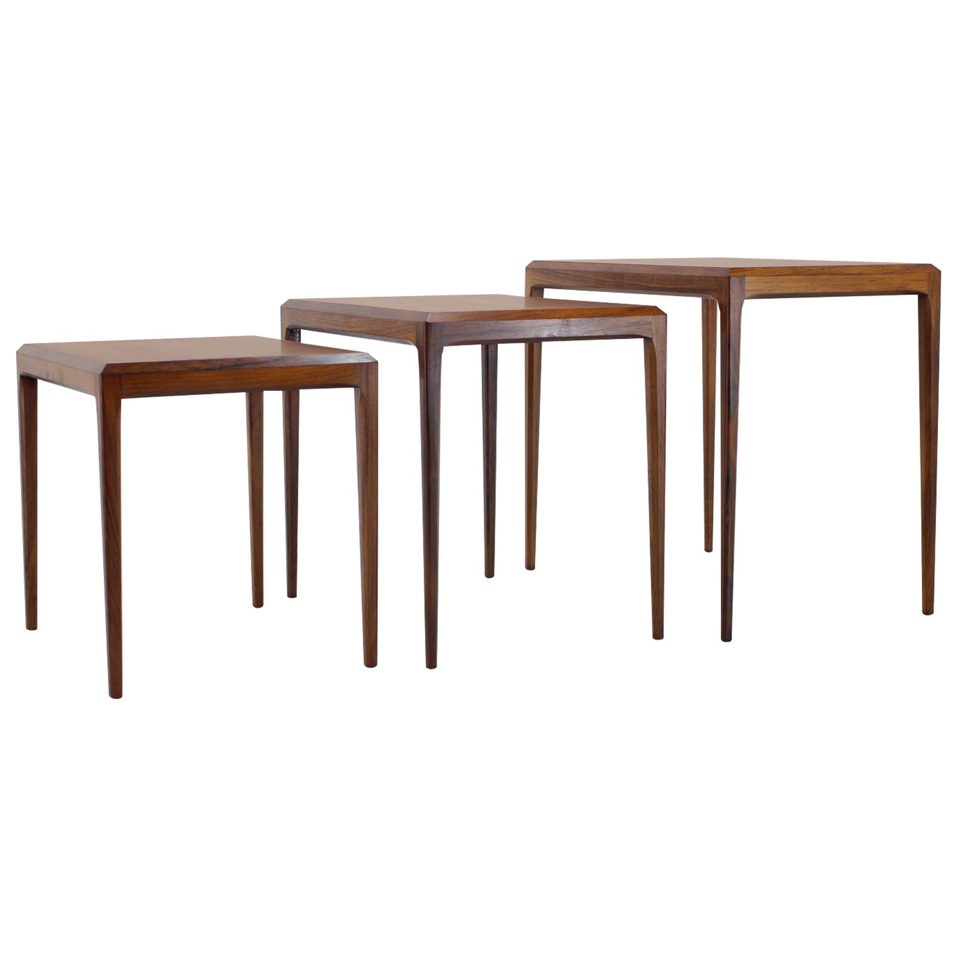 1960s Johannes Andersen Rosewood Nesting Tables for CFC Christensen of Silkeborg