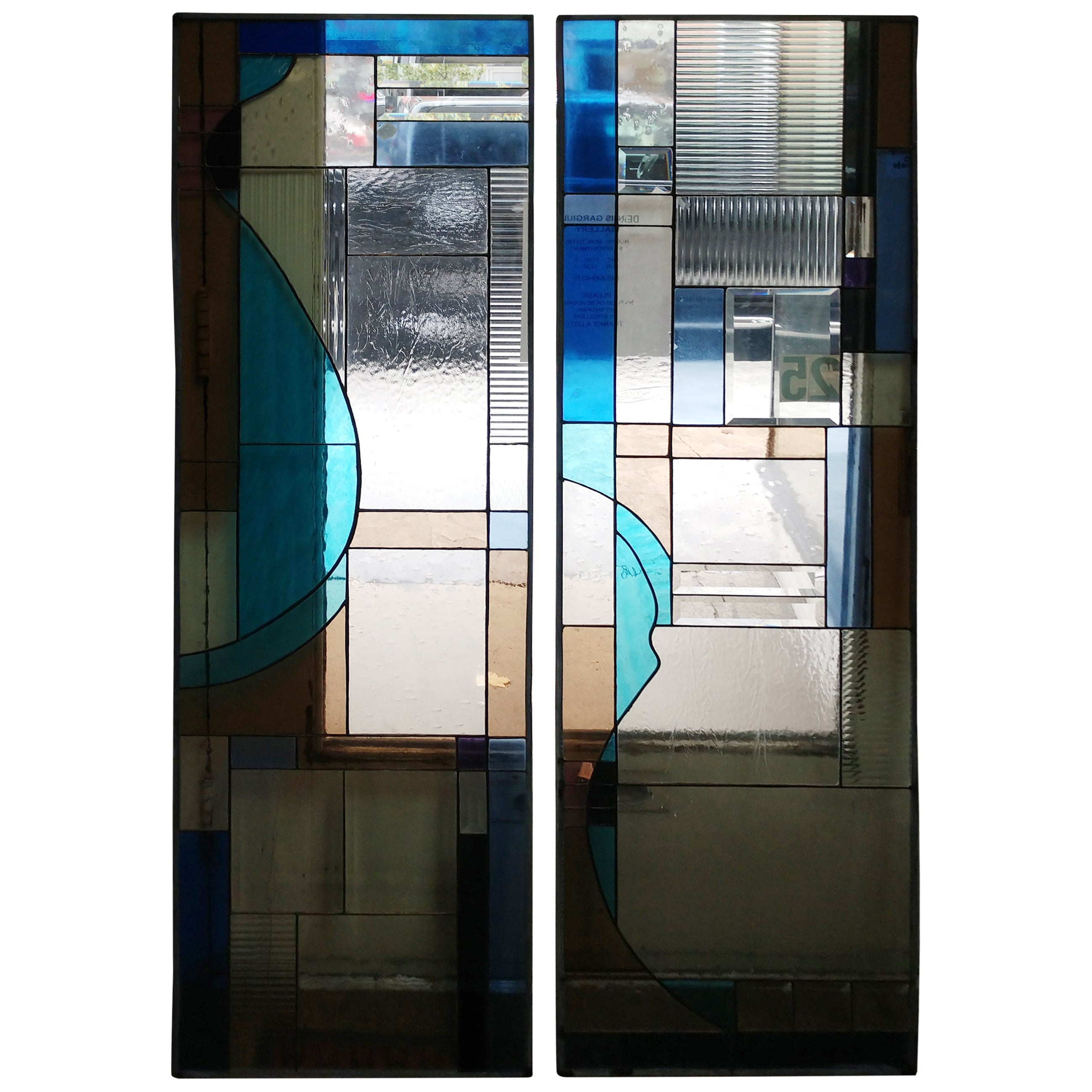 Pair of Modernist Stained and Textured Glass Windows