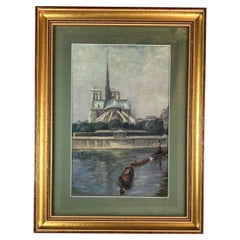 Original Oil on Canvas Painting of Notre Dame Cathedral and the Seine Paris