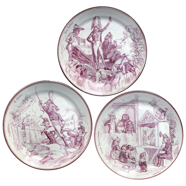 12 Dinner Plates Animals in Creil & Montereau Faience, Late 19th Century