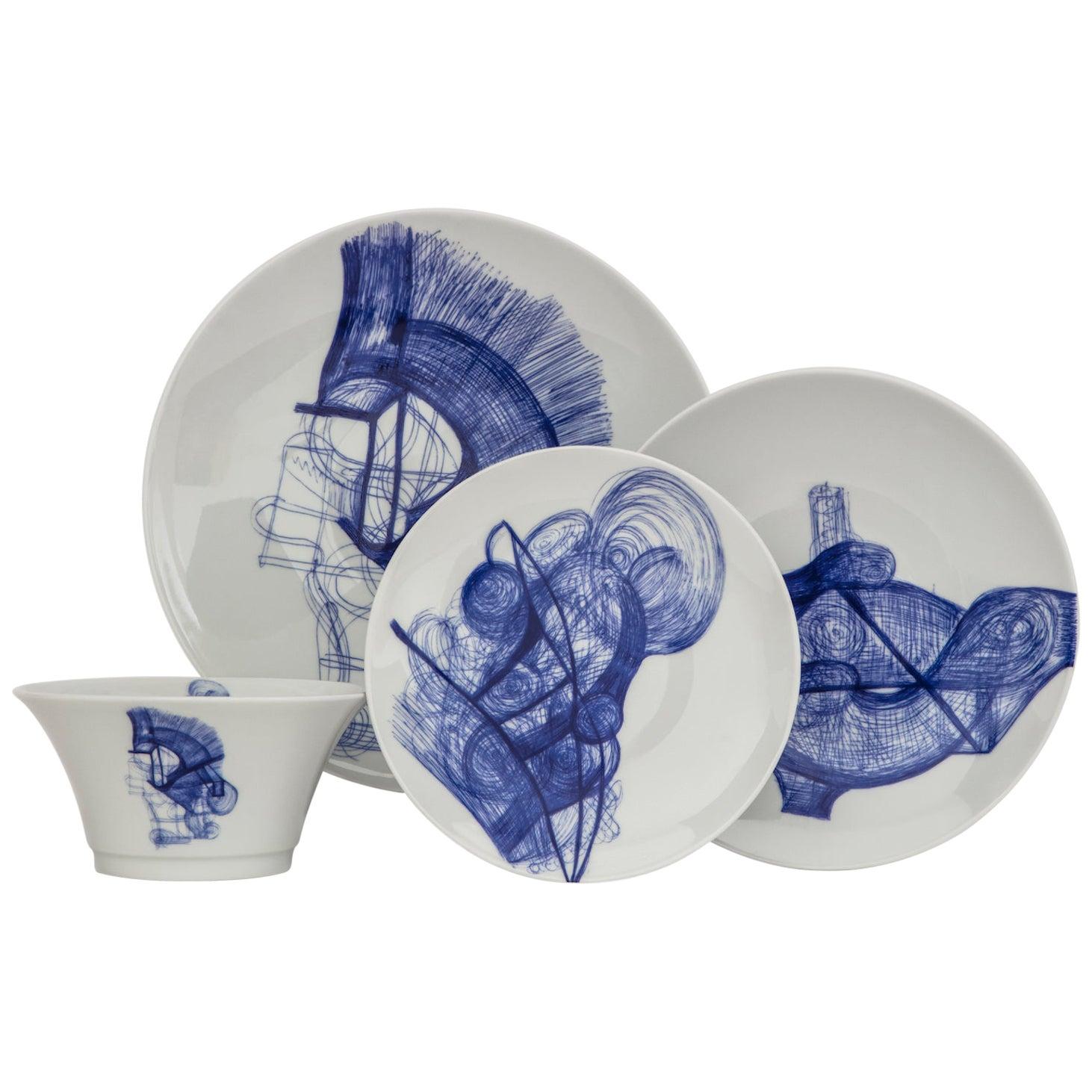 Delft Blue White French Limoges 4-Piece Porcelain Dinner Setting, Plates Bowl