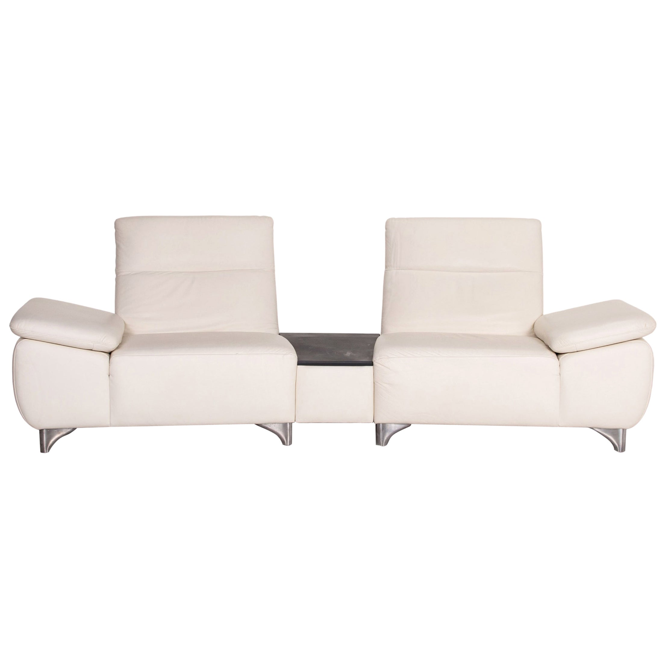 Mondo Leather Sofa White Two-Seat Relax Function Function Couch