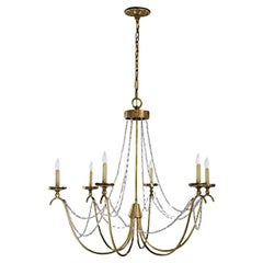 Six-Light Chandelier with Seeded Glass Strands