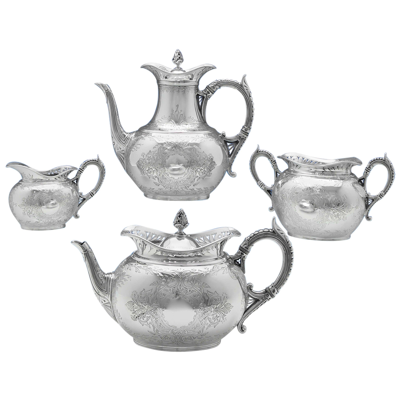 Victorian 4-Piece Antique Sterling Silver Tea Set by Elkington, London, 1888