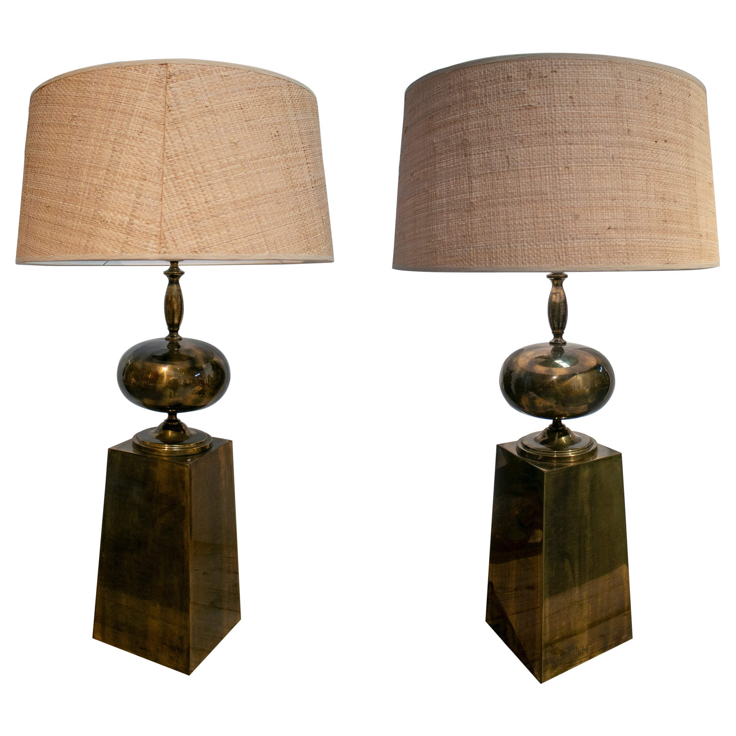 1970s Pair of Spanish Bronze Table Lamps
