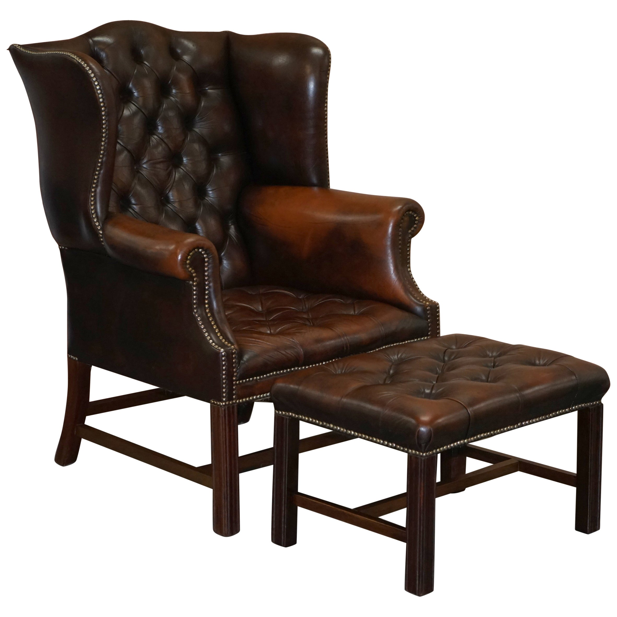 Chesterfield Brown Leather Wingback Georgian H-Framed Armchair and Footstool