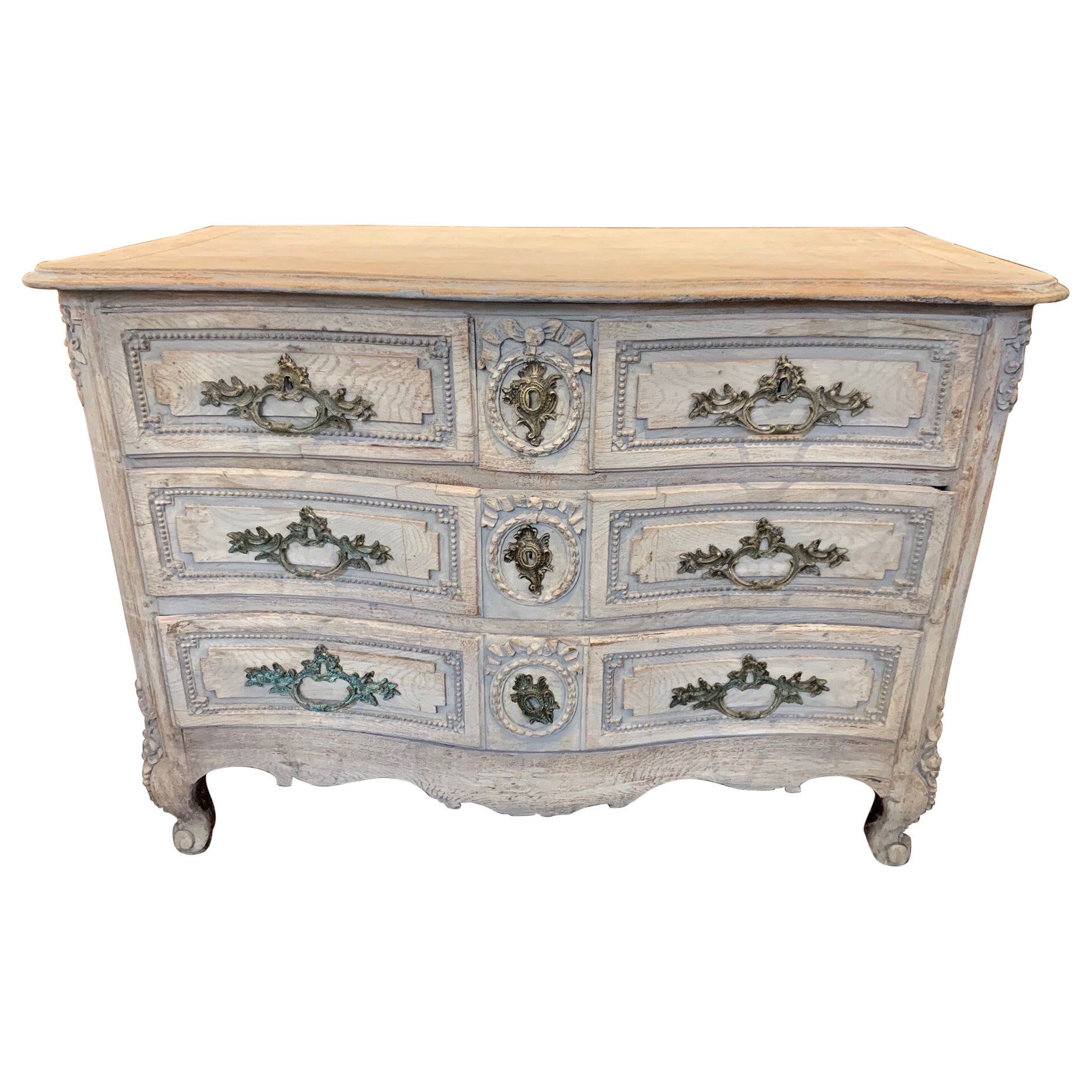 18th Century French Carved and Bleached White Oak Chest