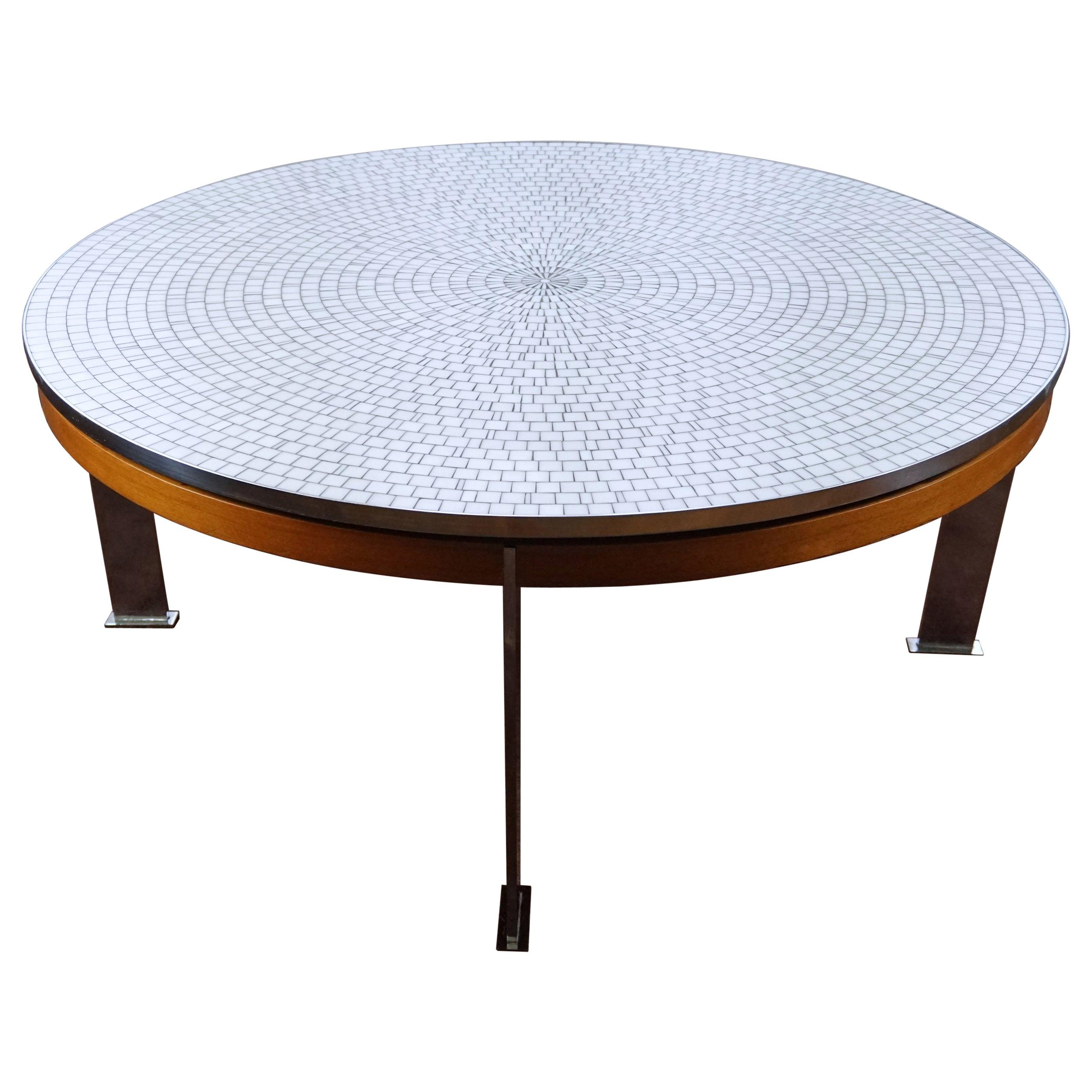 Berthold Müller Oerlinghausen Midcentury Mosaic Large Round Coffee Table, 1960s