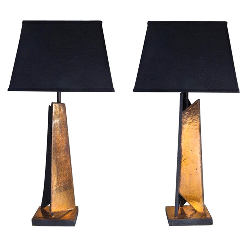 Pair of Shard Lamps by Sotis Filippides Ceramic and 24-Carat Gold, 21st Century
