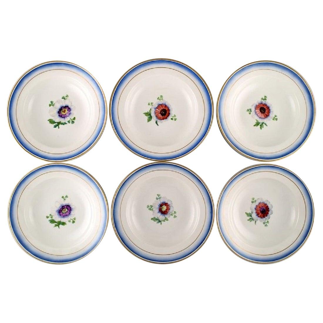 Six Antique Royal Copenhagen Deep Plates in Hand Painted Porcelain