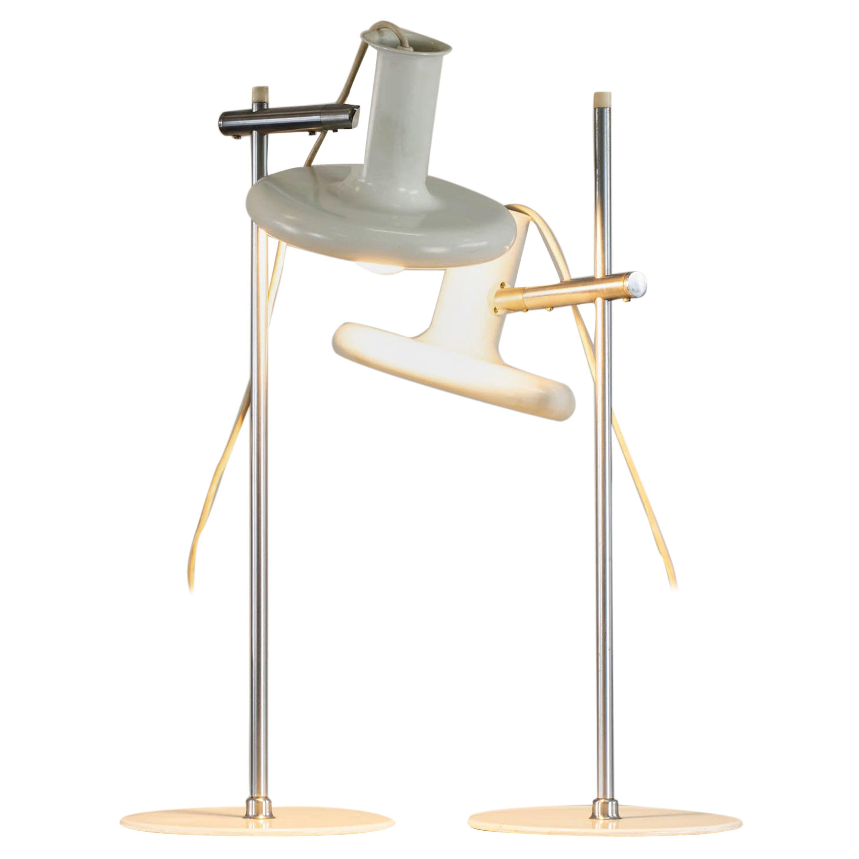 Hans Due Set of Two White Table Lamps Optima 2 for Fog & Mørup, 1970