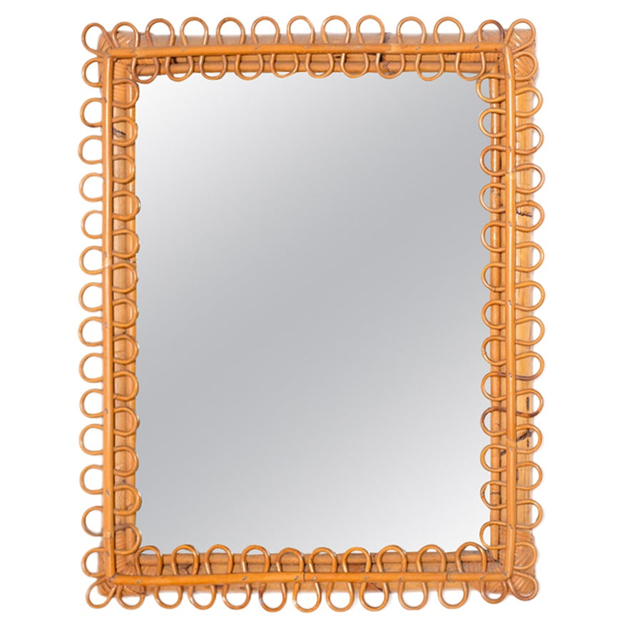 Italian Wall Mirror in Brown Bamboo, 1950s