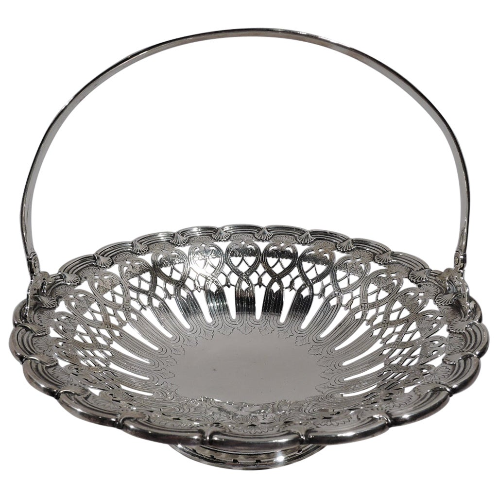 Antique Tiffany American Edwardian Art Nouveau Sterling Silver Basket