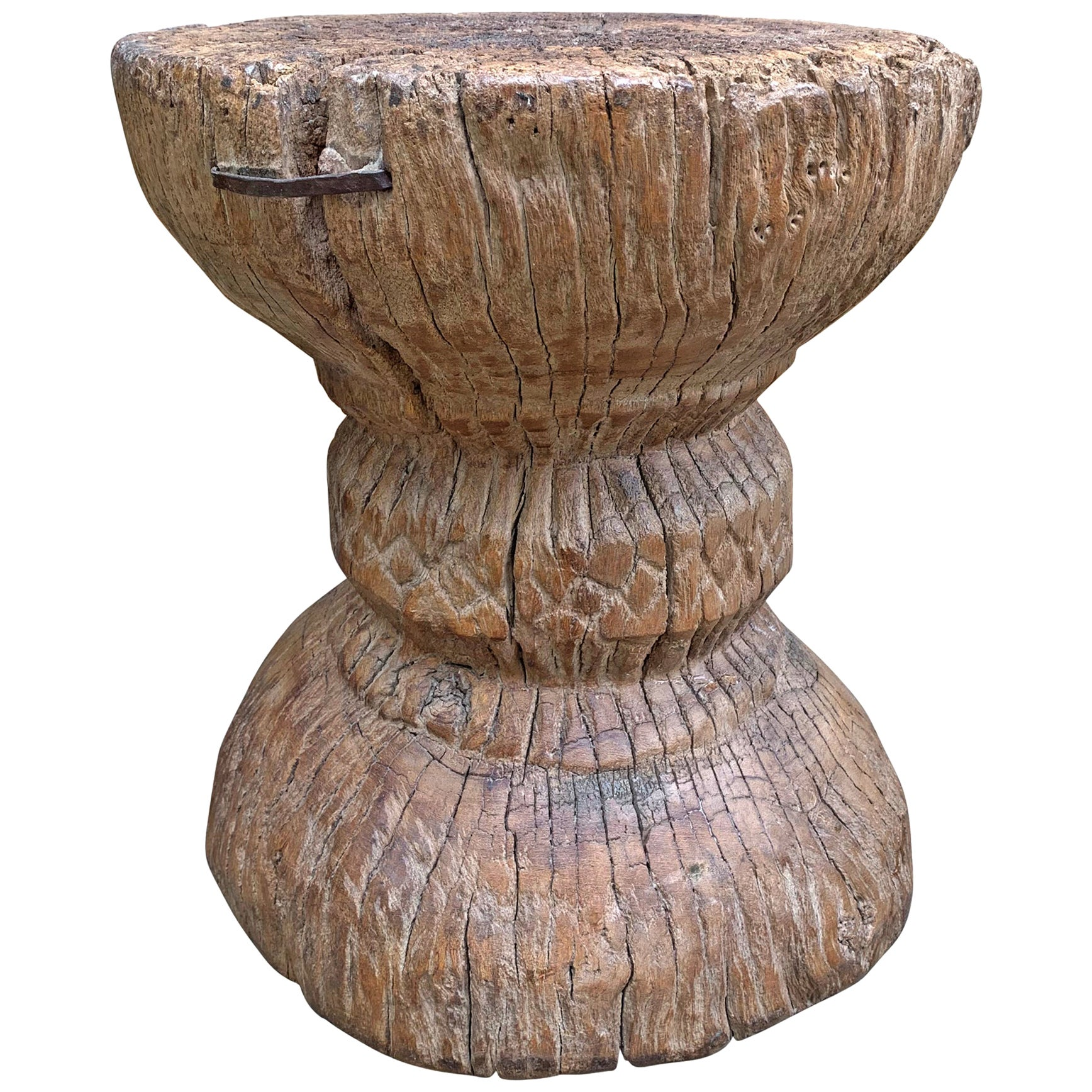 Extraordinary Primitive Carved Wood Stool