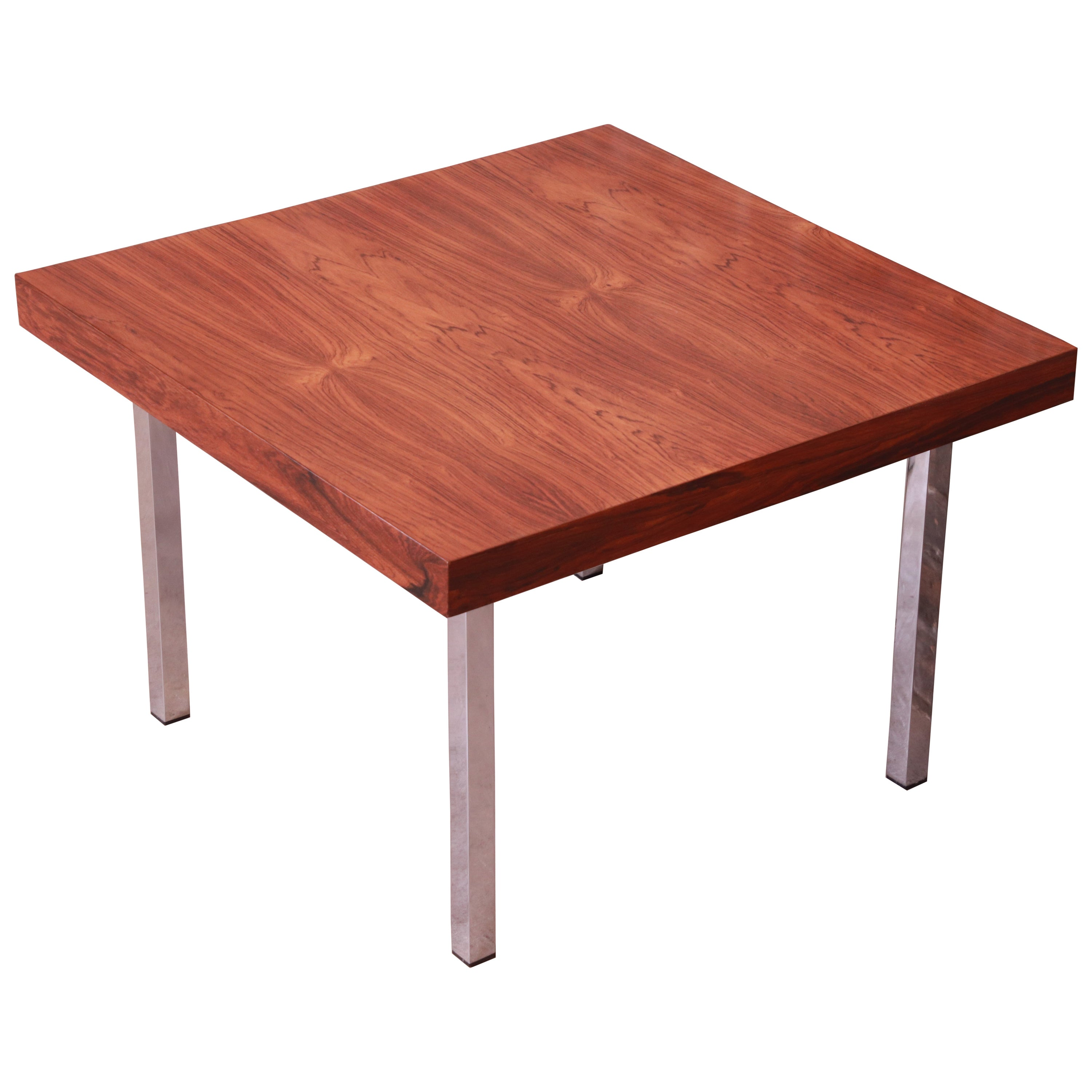 Milo Baughman for Thayer Coggin Rosewood and Chrome Side Table, Newly Restored