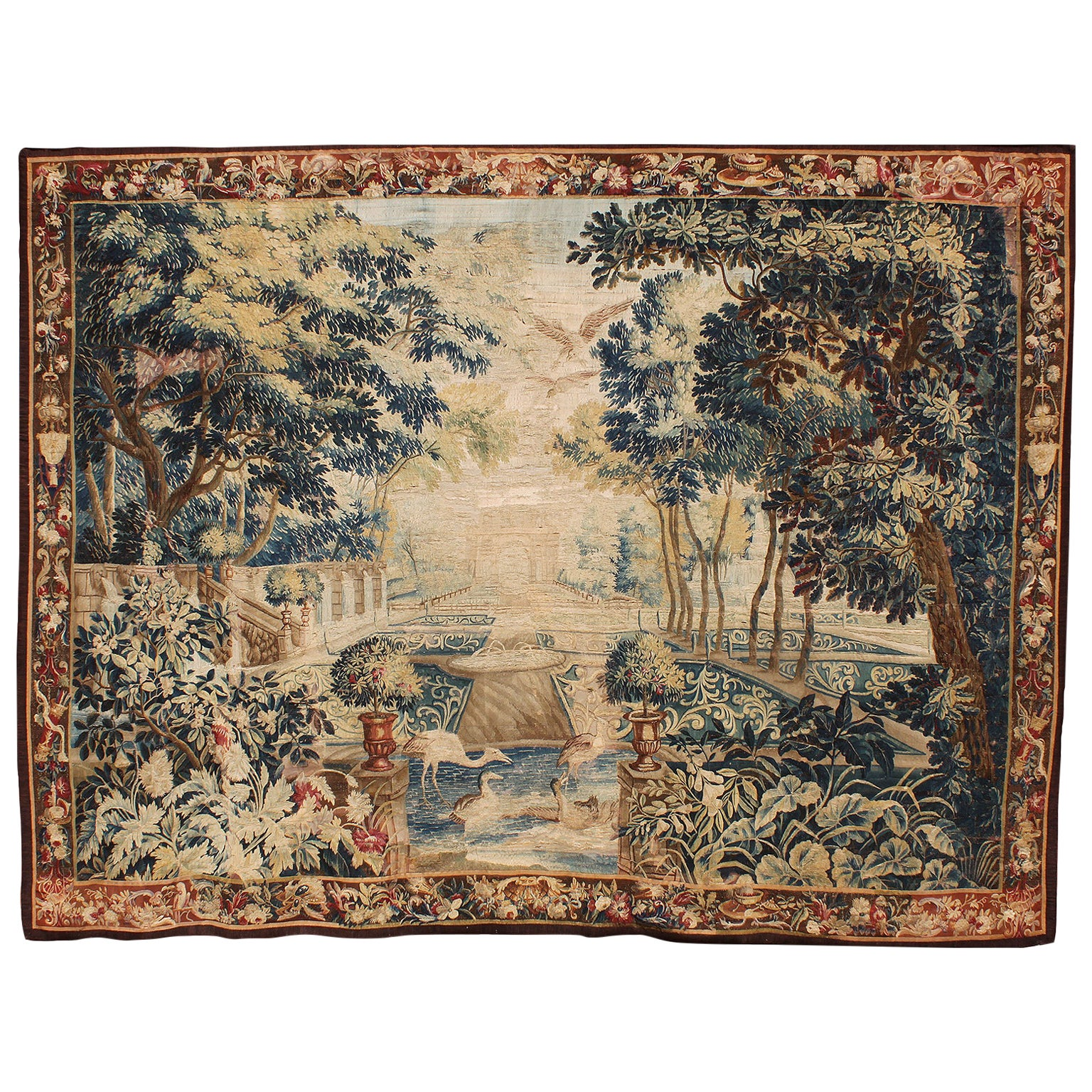 """Large Flemish 17th-18th Century Baroque Pictorial Tapestry """"the Royal Garden"""""""