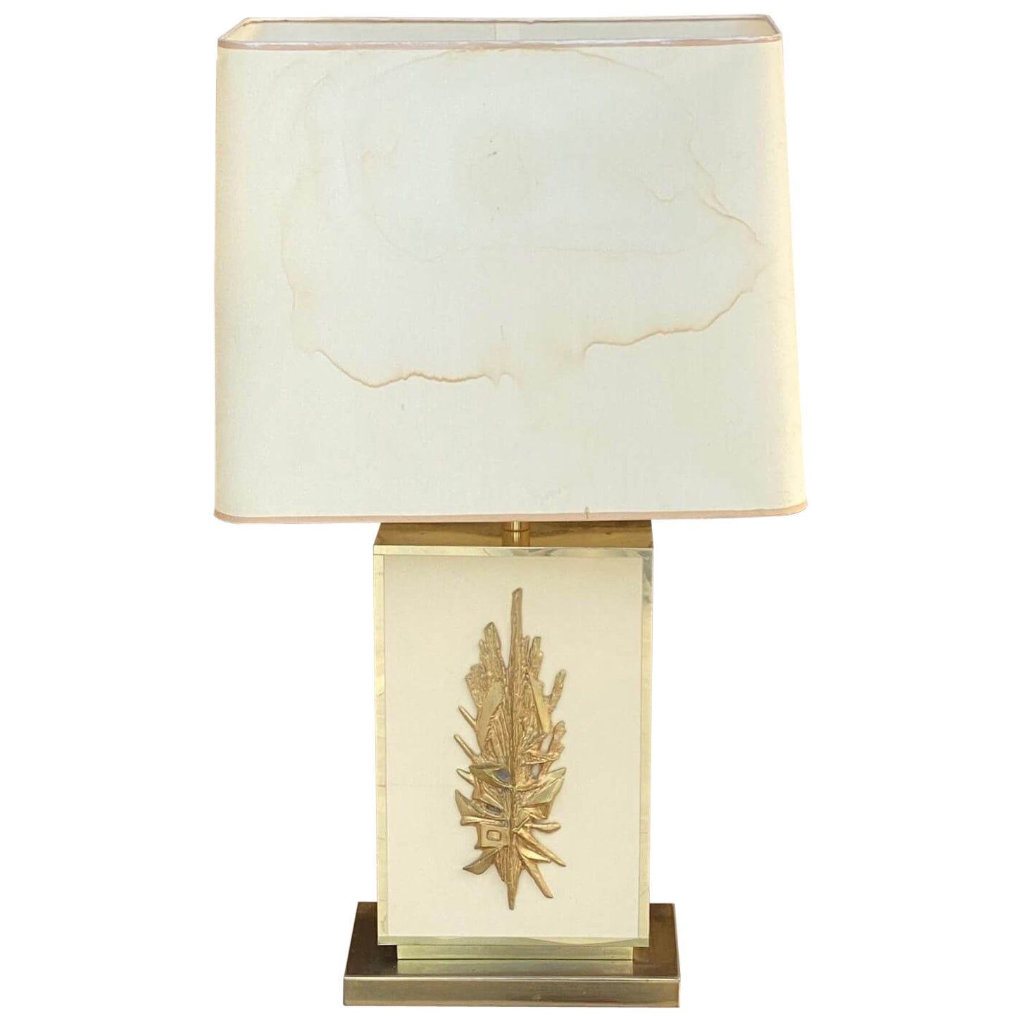 Table Lamp by Philippe Cheverny, Large Model, Brass, Resin, Plastic, France 1970
