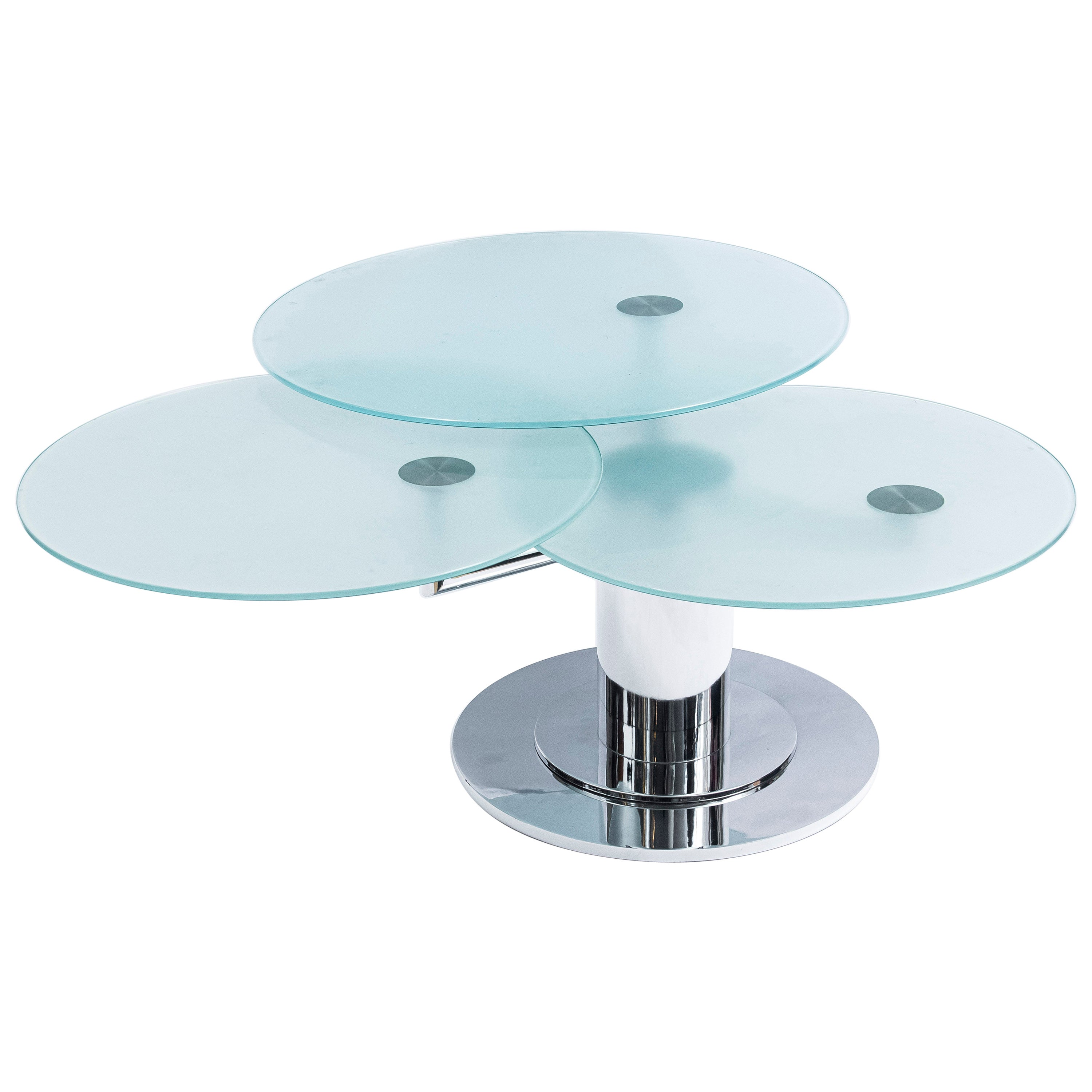 Round Glass and Chrome Metal Adjustable Coffee Table, Italy, circa 1980