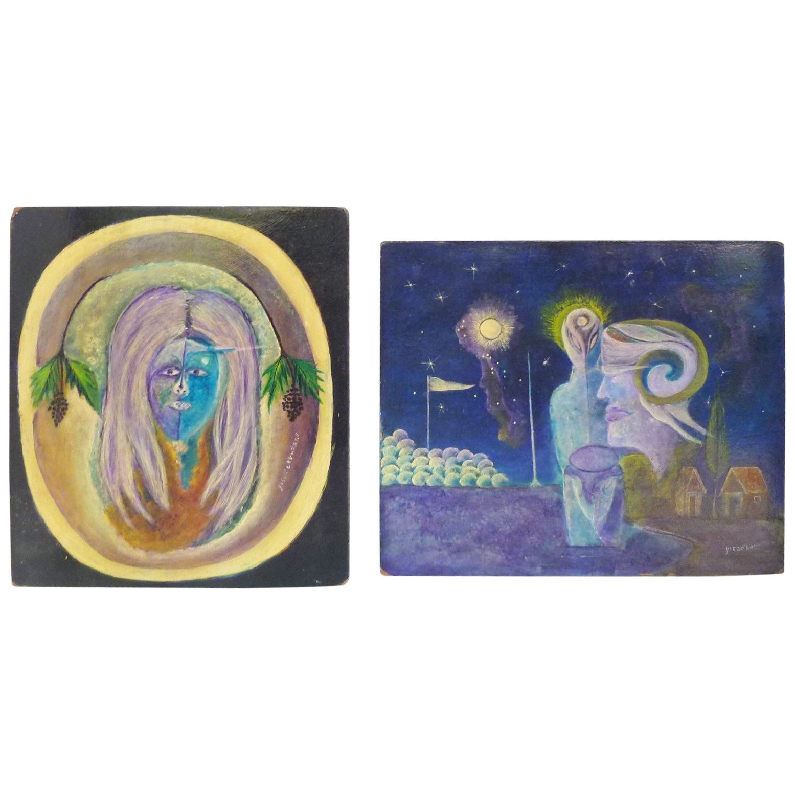 Pair Modern Haitian Oil on Board Surrealism Paintings by Ivette LaGuerre, 1950s