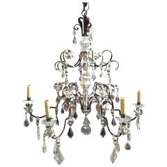 Neoclassical Style Rock Crystal Chandelier, 6-Light