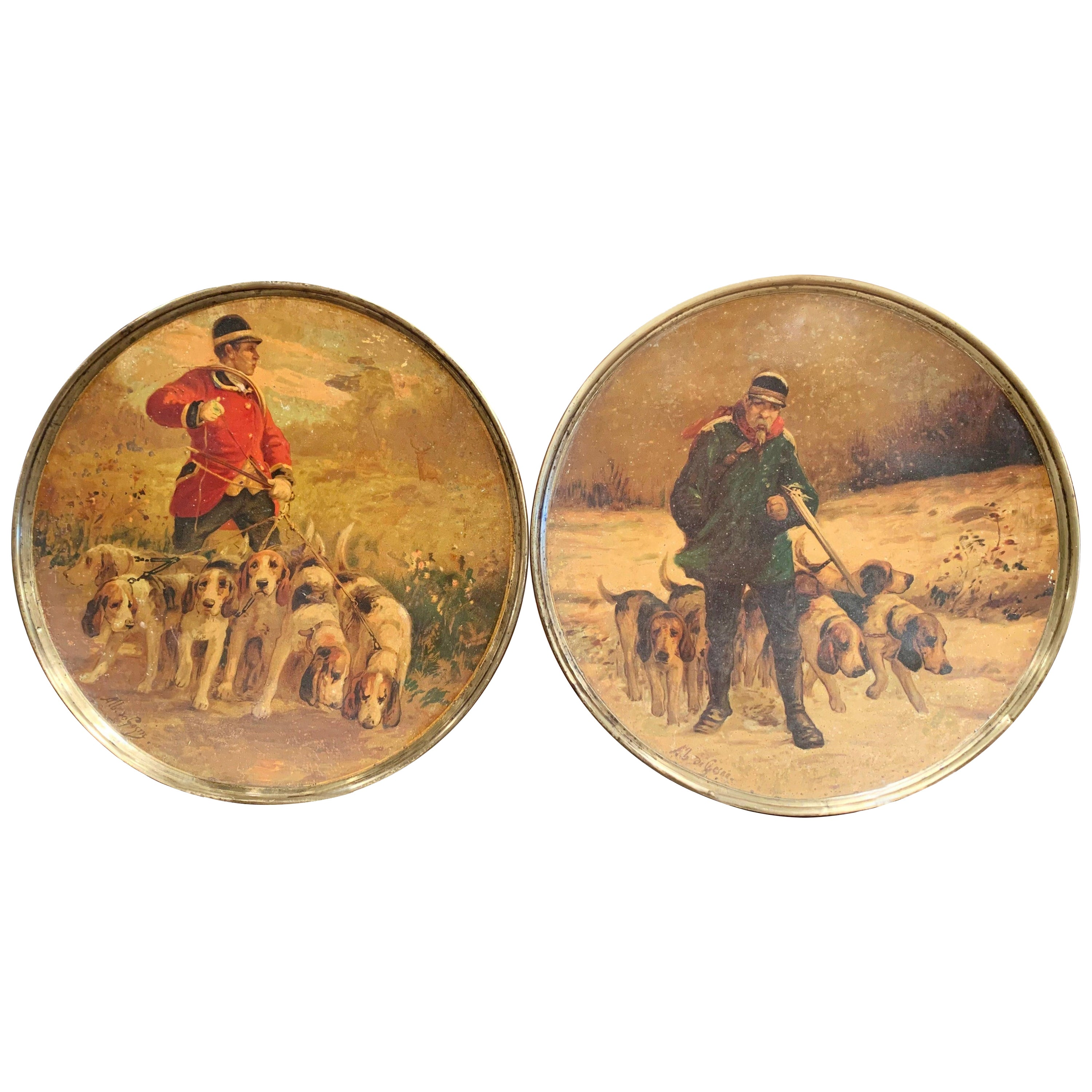 19th Century French Painted Hunt Scene Tole Wall Plates Signed A. de Gesne, Pair