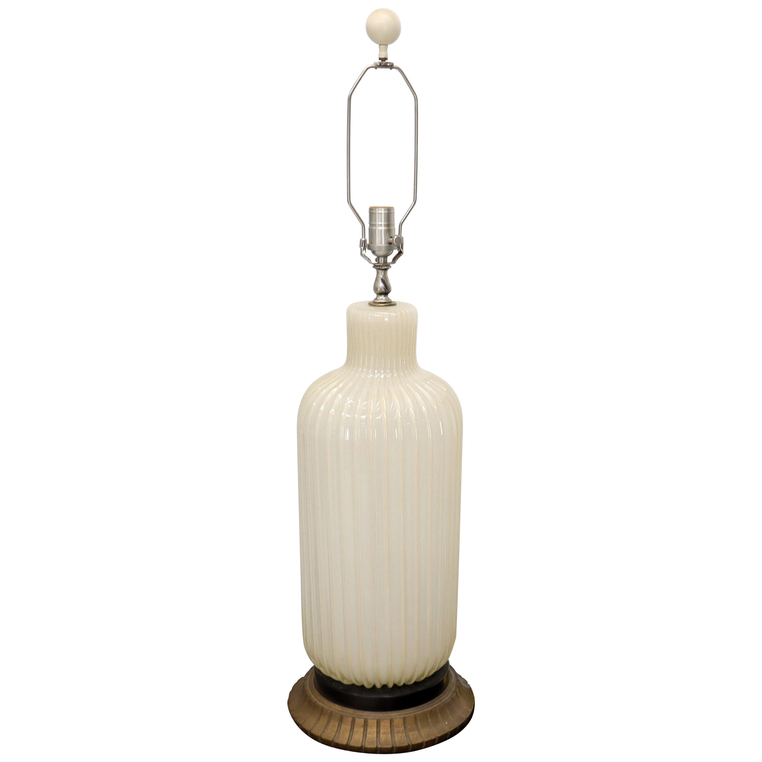 Large Murano Glass Carved Wood Scallop Base Table Lamp