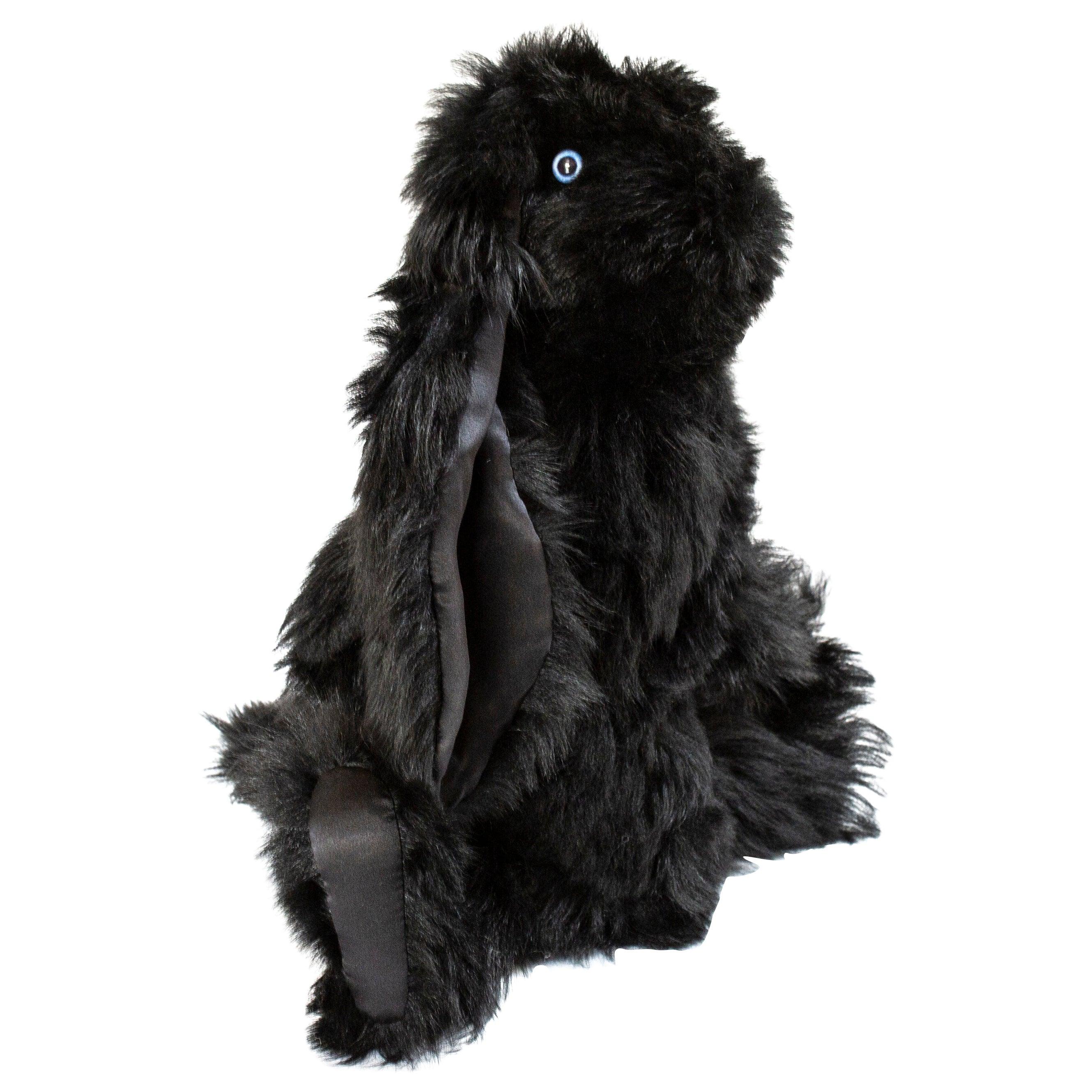 Real Toscana Sheep Black Fur Rabbit Toy
