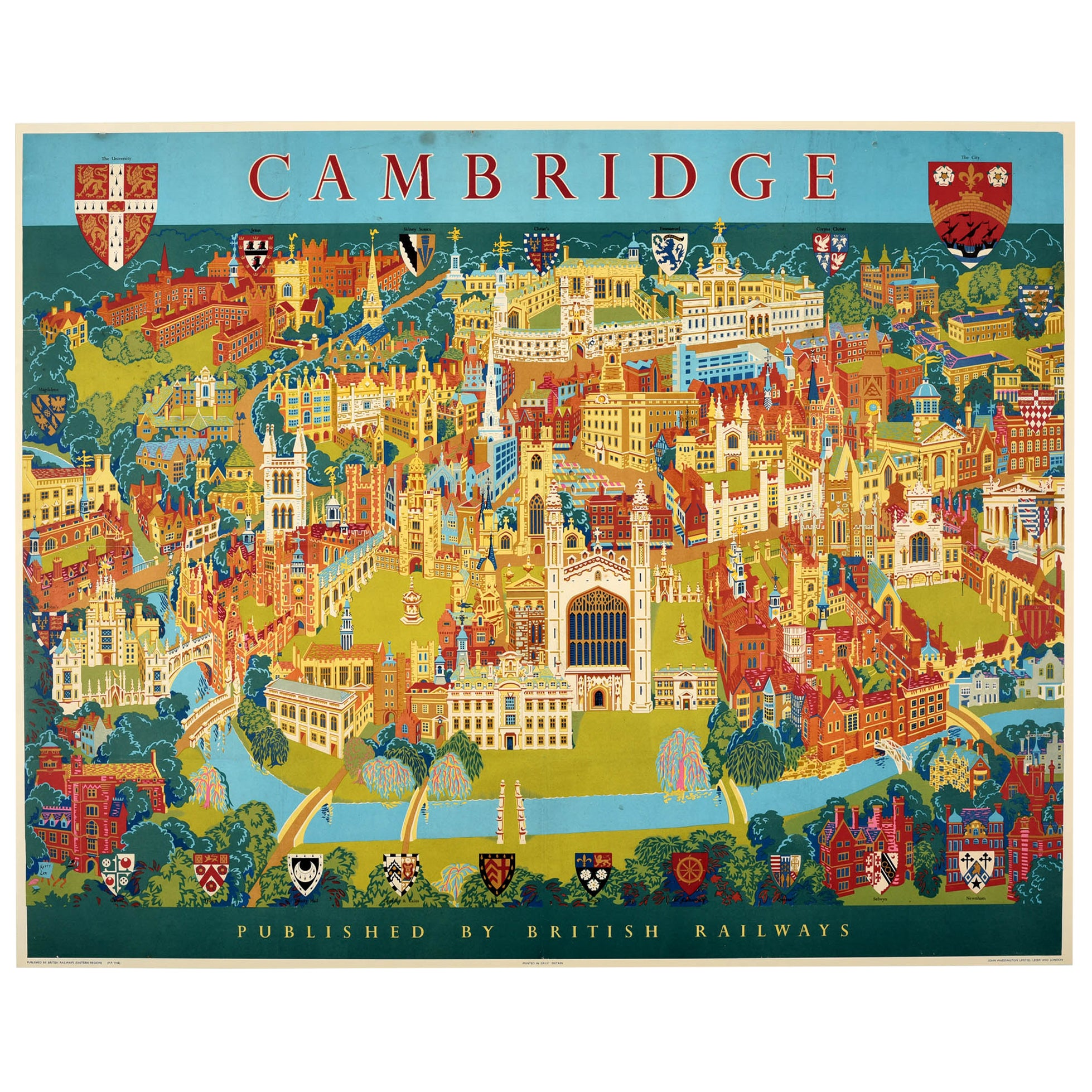 Original Vintage Poster Pictorial Map British Railways Cambridge University City
