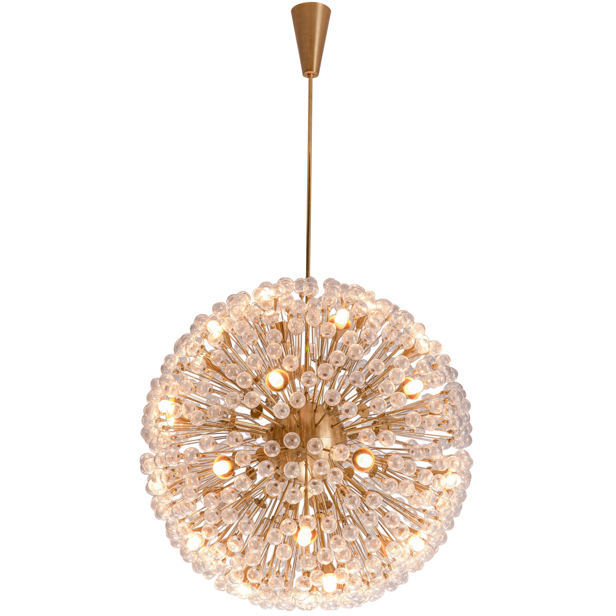 'Sputnik' Chandelier in Brass and Glass