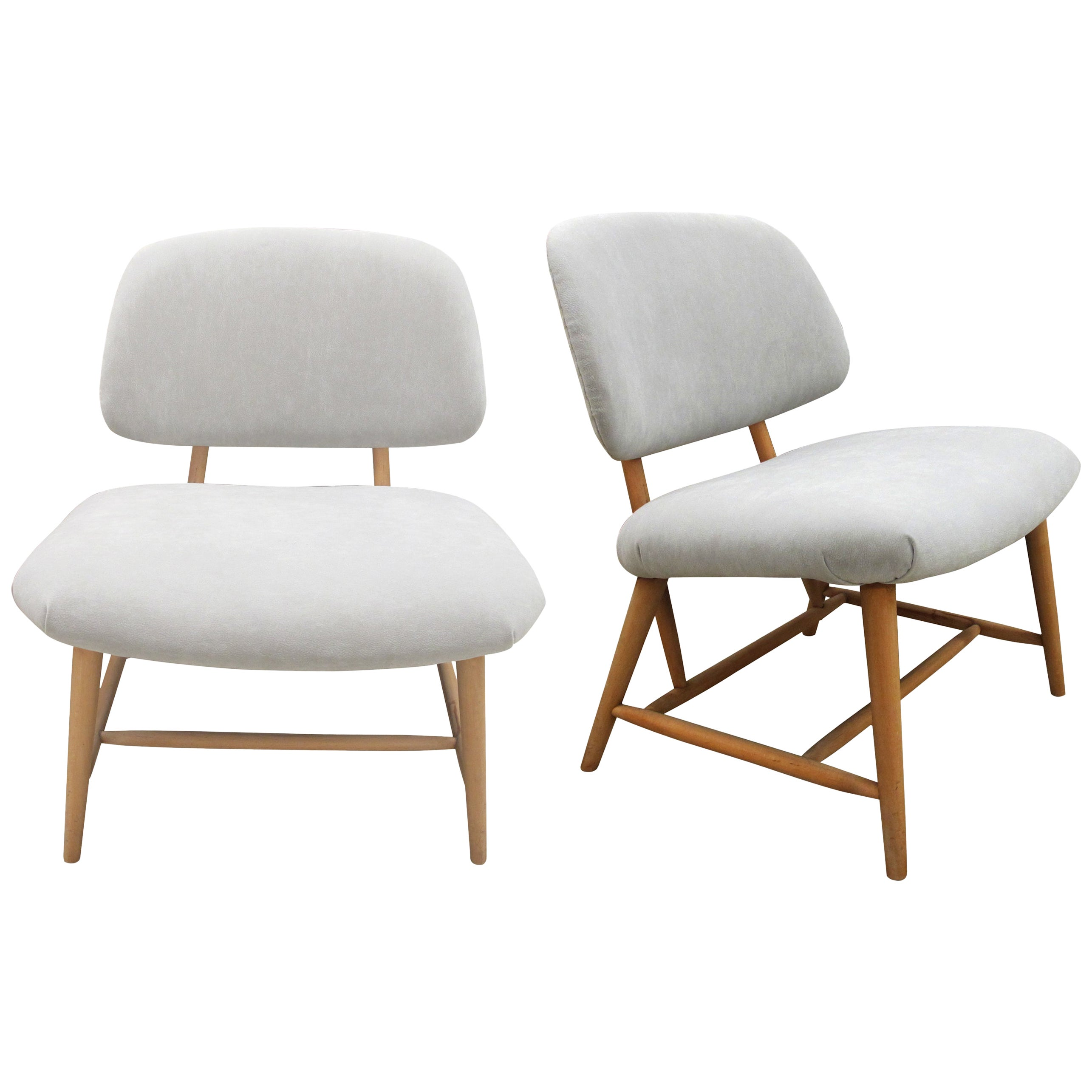 Pair of 1960s Swedish Alf Svensson Occasional Lounge Chairs Newly Reupholstered